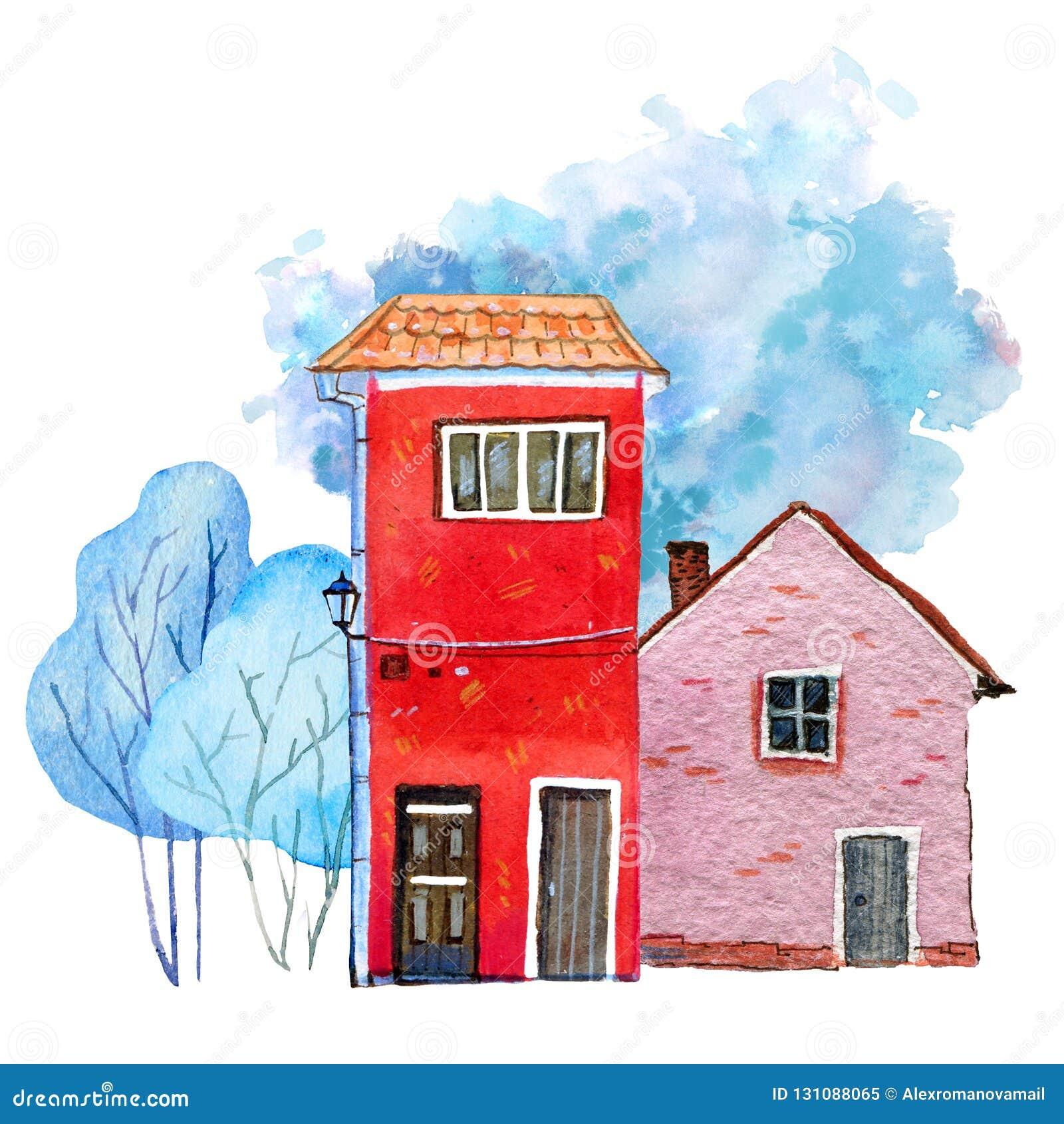 Deux rétros maisons en pierre avec des arbres d hiver et tache de couleur sur le fond Illustration tirée par la main d aquarelle
