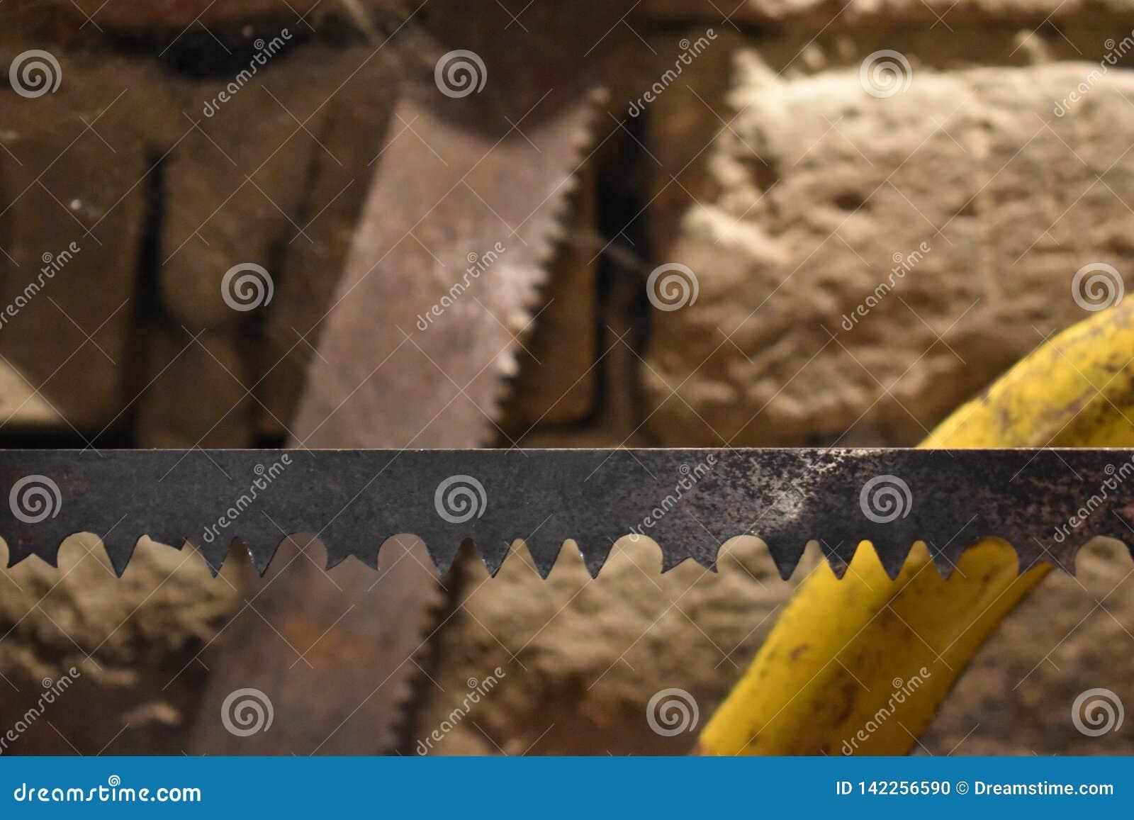 Deux scie des lames, celle au foyer a cassé des dents