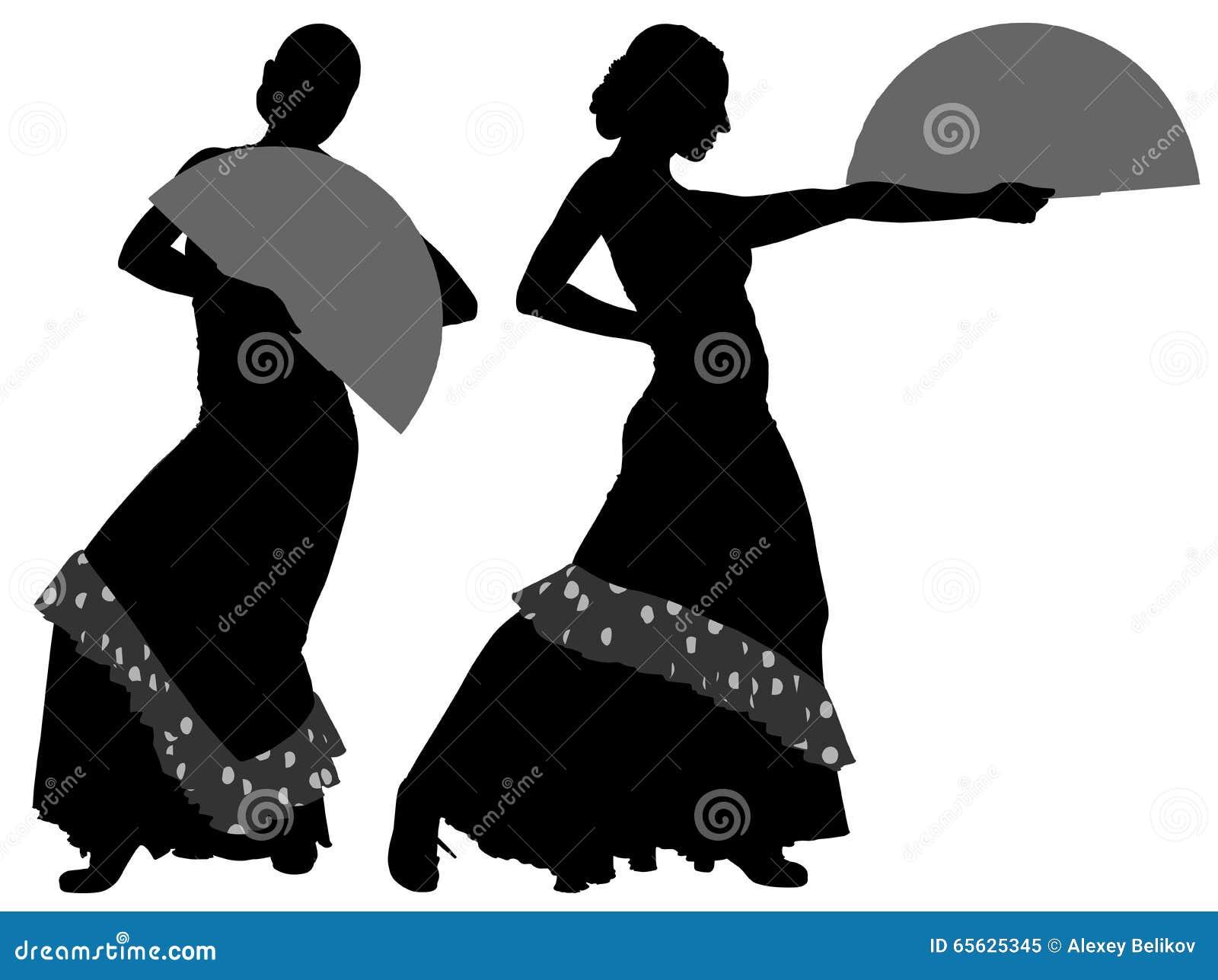 Deux silhouettes de danseur féminin de flamenco