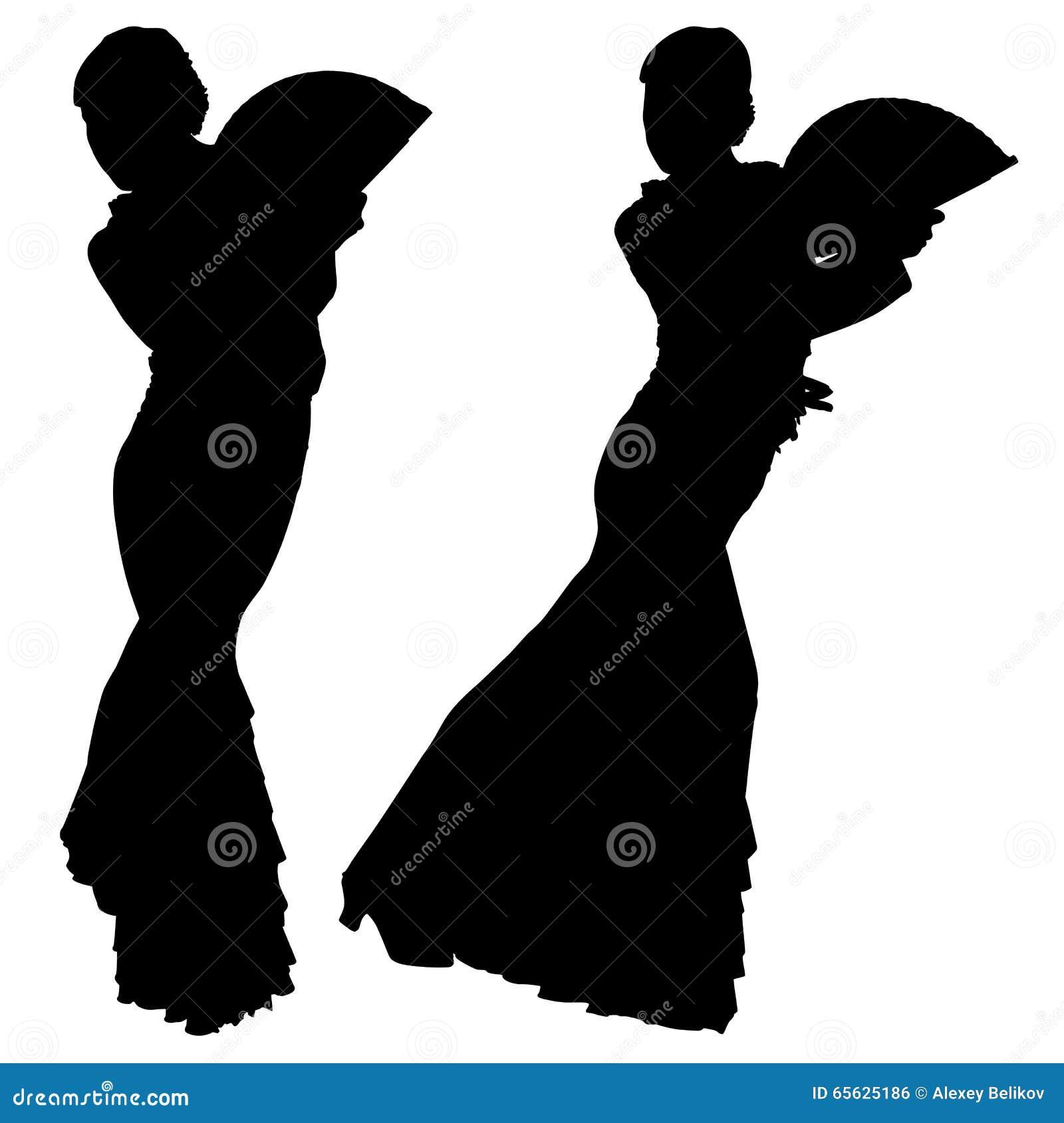 Deux silhouettes noires de danseur féminin de flamenco