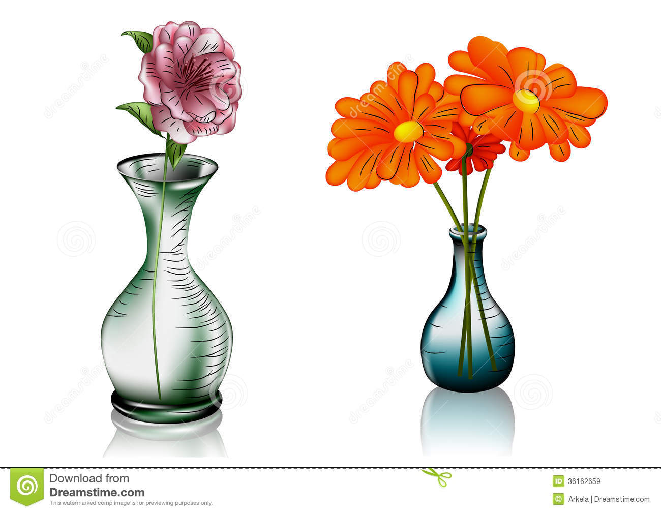 deux vases avec des fleurs images libres de droits image 36162659. Black Bedroom Furniture Sets. Home Design Ideas