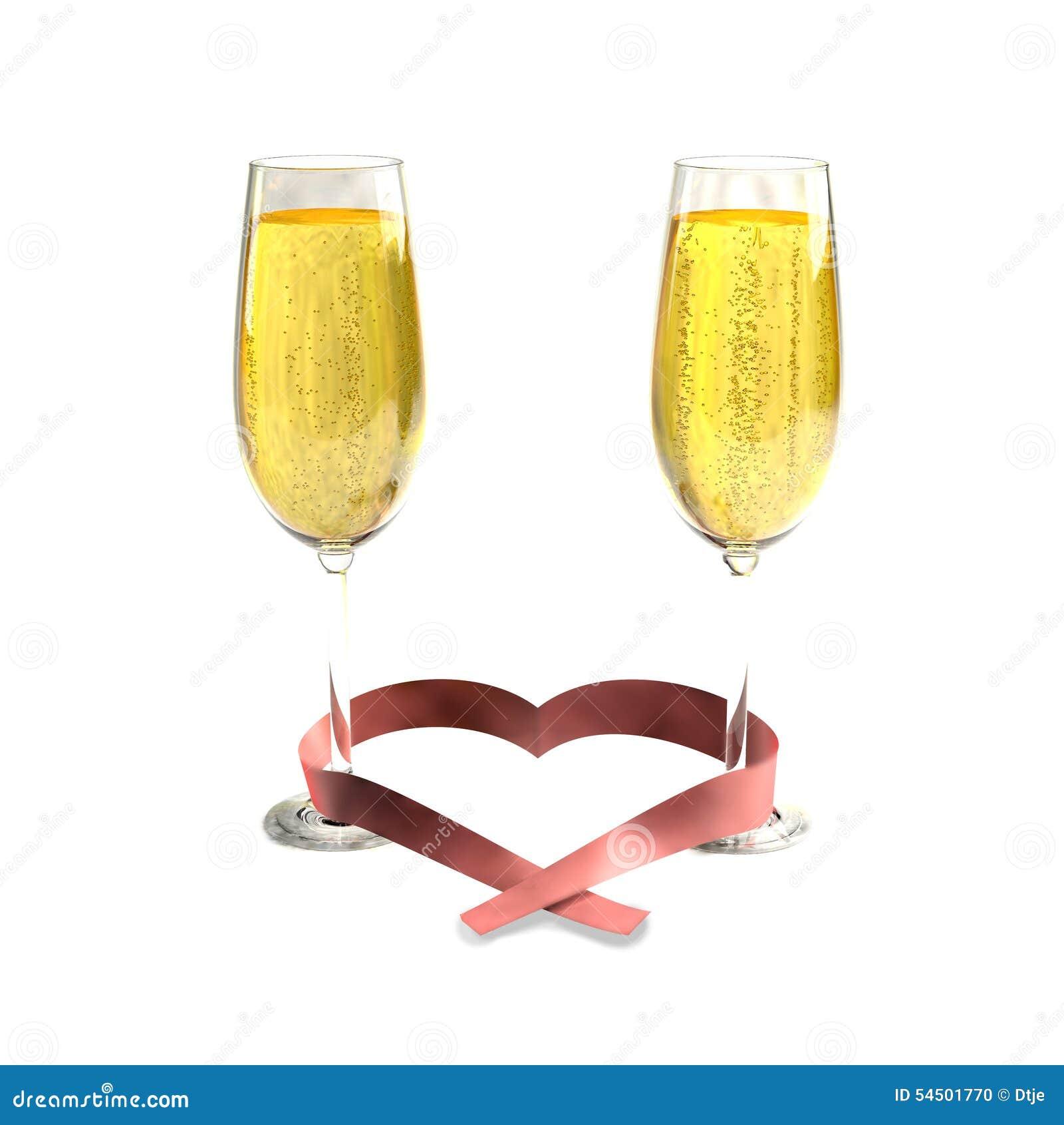 Deux verres de bon champagne et d un ruban en forme de coeur