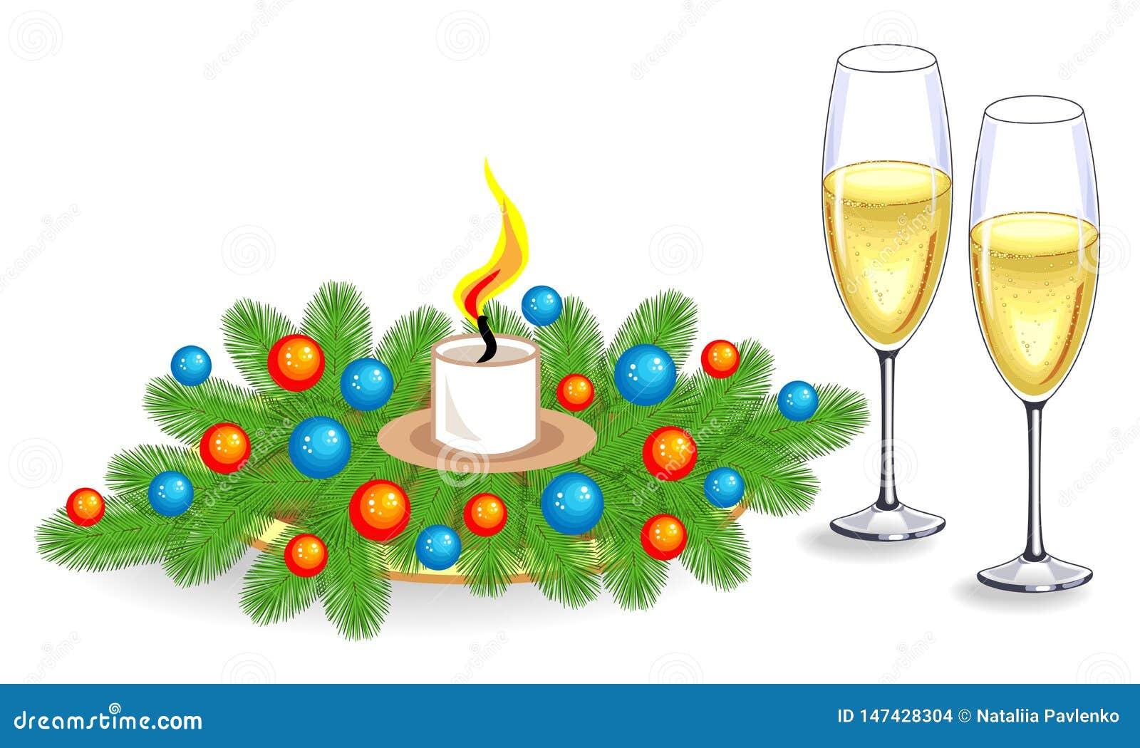 Deux verres de champagne et de composition des branches de sapin boules lumineuses de décoration No?l de vacances, nouvelle ann?e