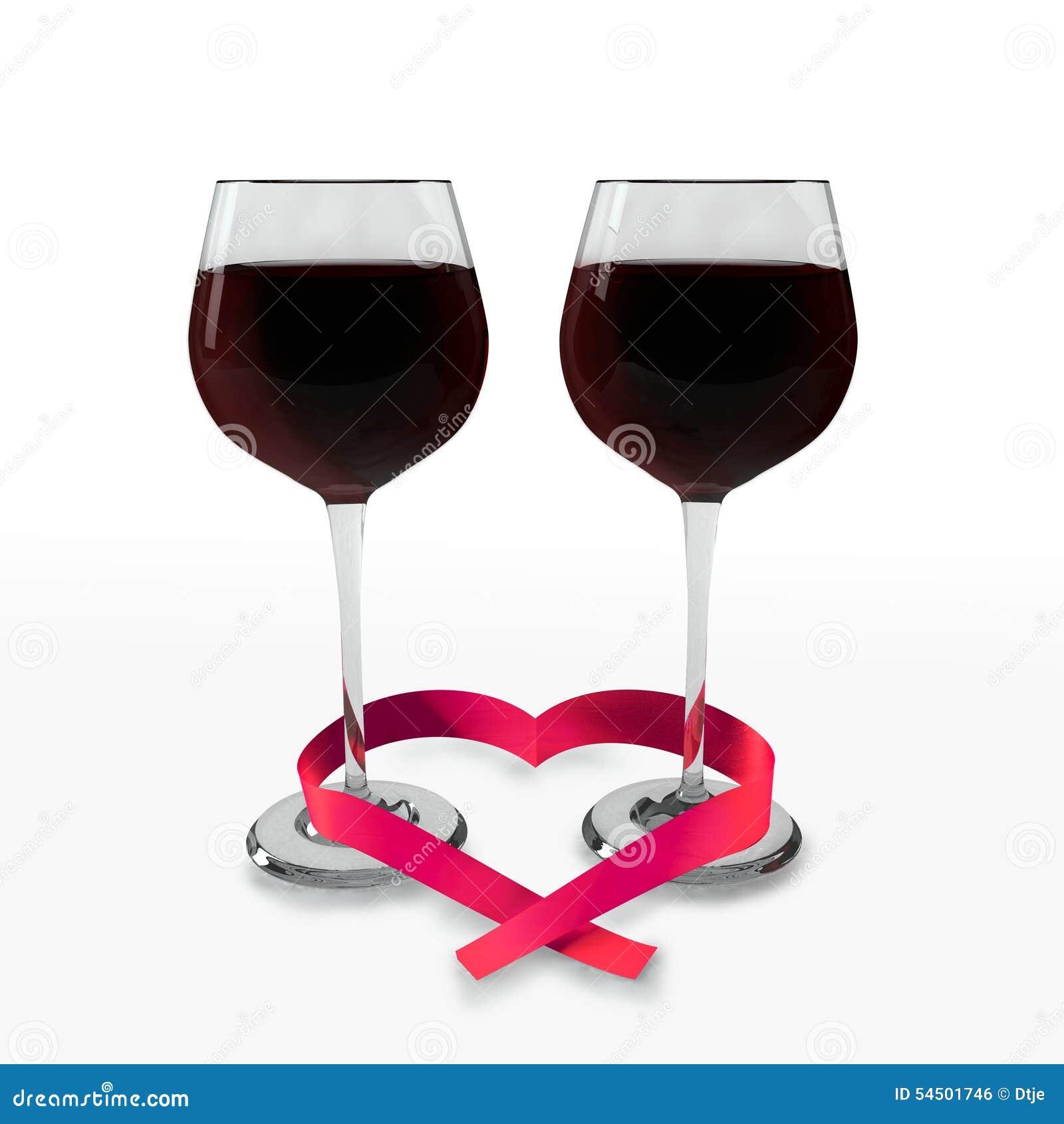 deux verres du bon vin rouge et d 39 un ruban en forme de coeur illustration stock illustration. Black Bedroom Furniture Sets. Home Design Ideas
