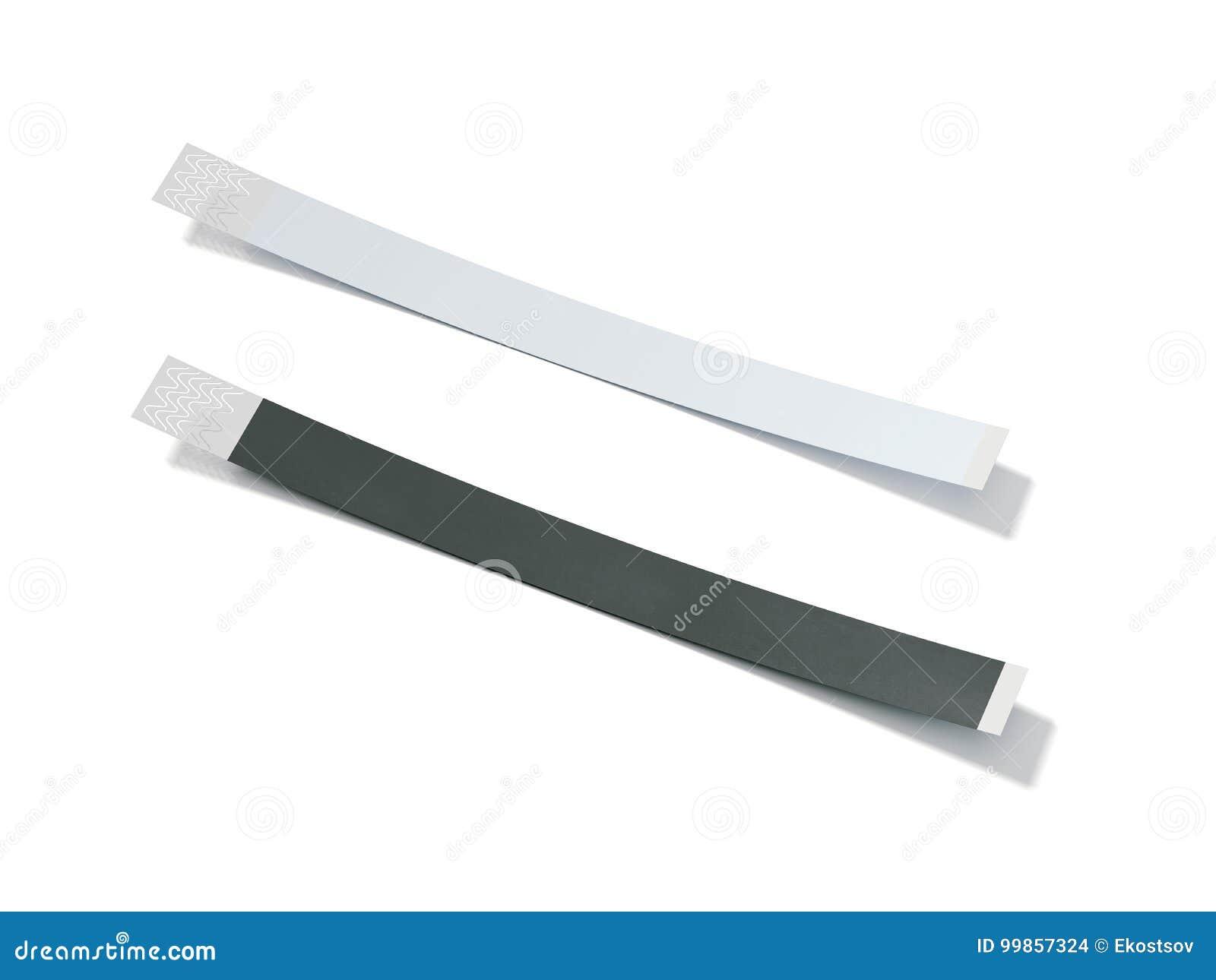 Deux wirstbands de papier blanc rendu 3d