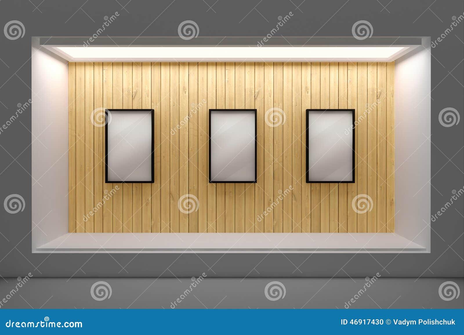 devanture de magasin ou podium vide avec l 39 clairage et une grande fen tre illustration stock. Black Bedroom Furniture Sets. Home Design Ideas