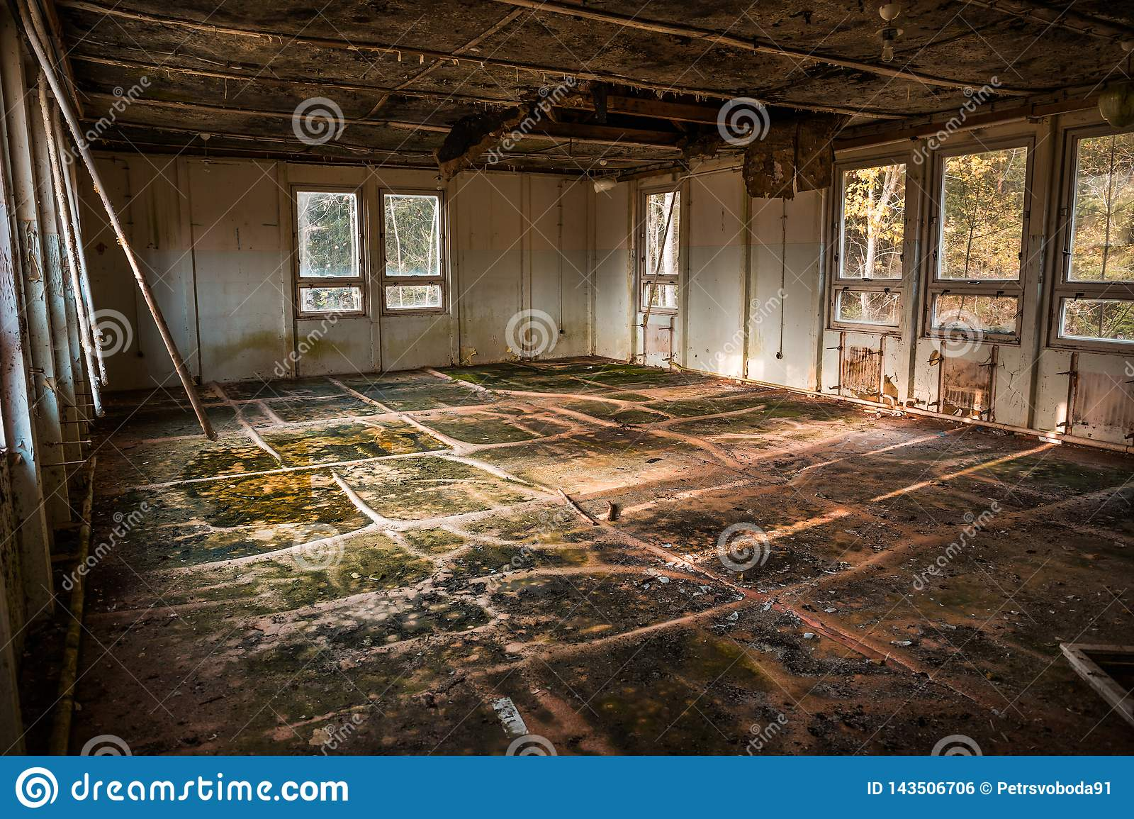 Devastated room in an abandoned building, urbex location