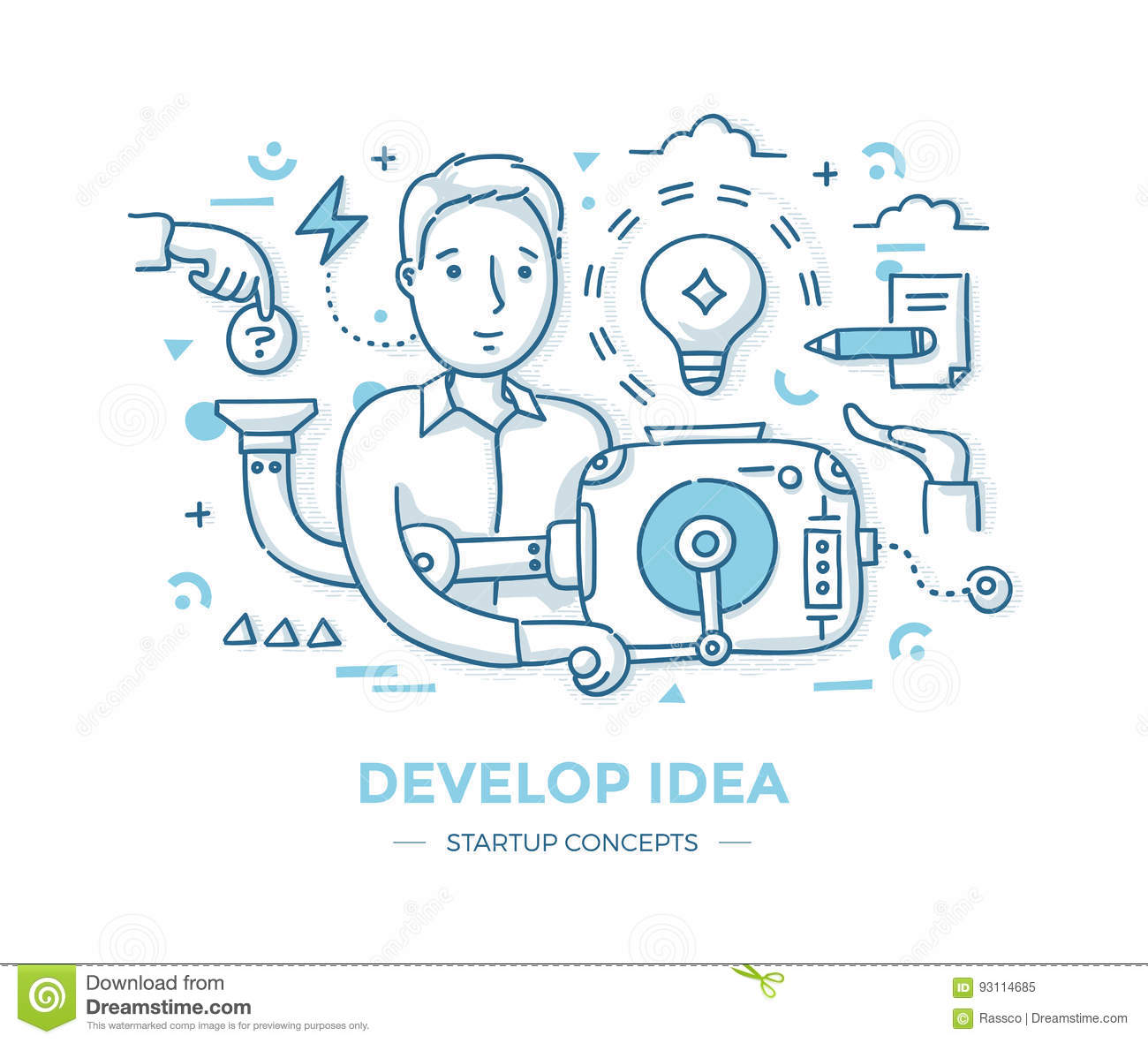 Develop Startup Idea stock vector. Illustration of thinking - 93114685