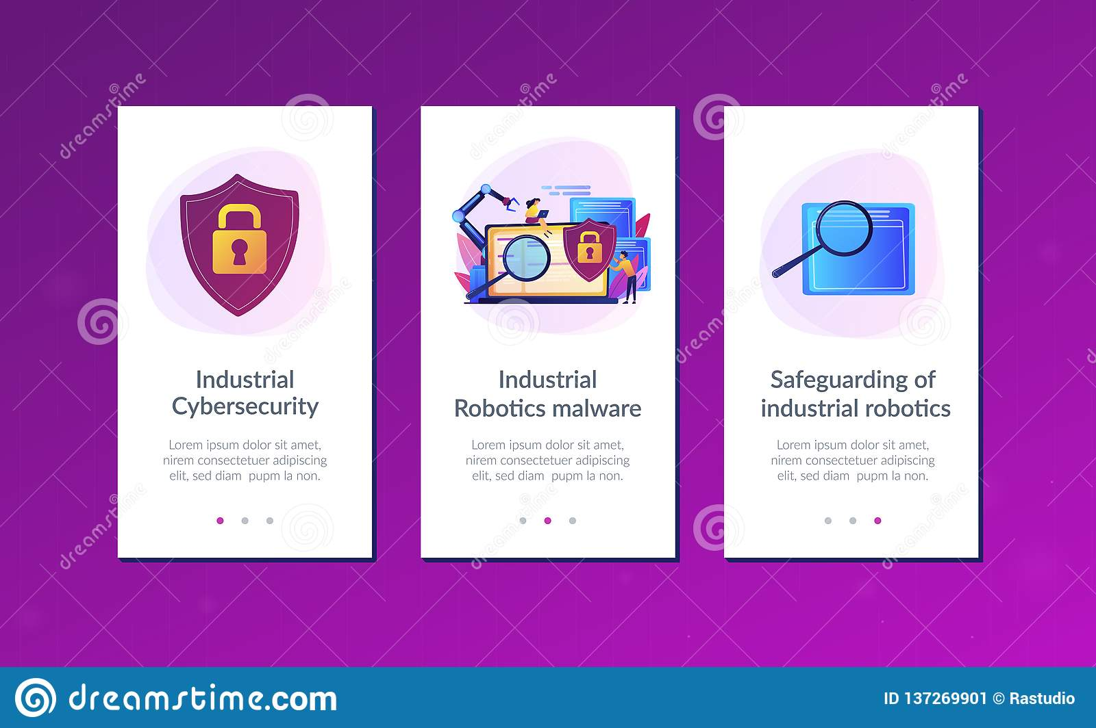 Industrial Cybersecurity App Interface Template  Stock