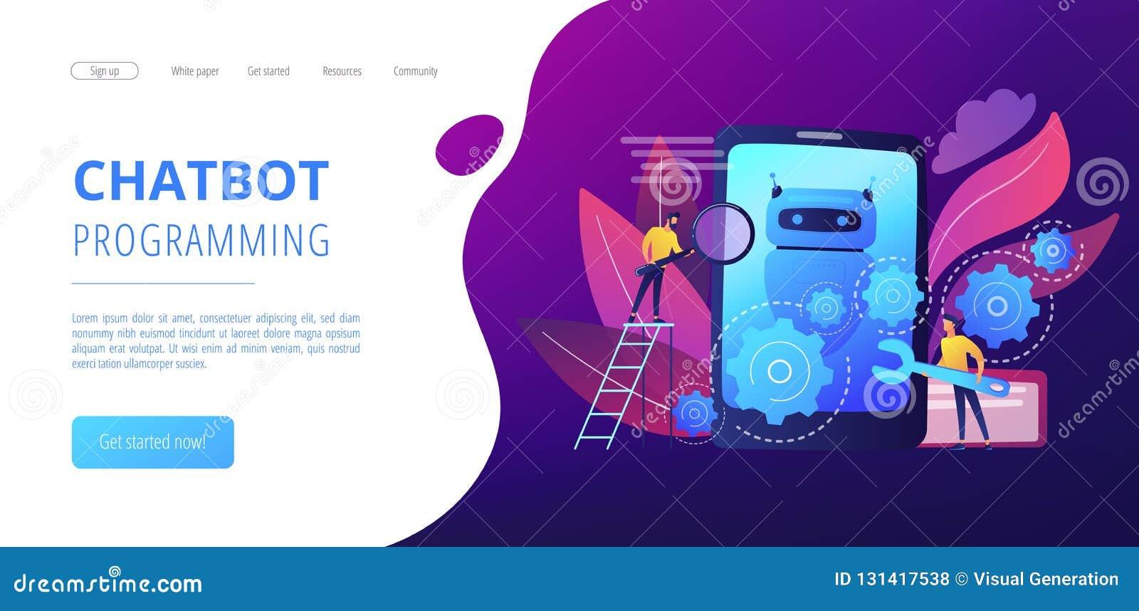 Chatbot App Developmentconcept Landing Page  Stock Vector