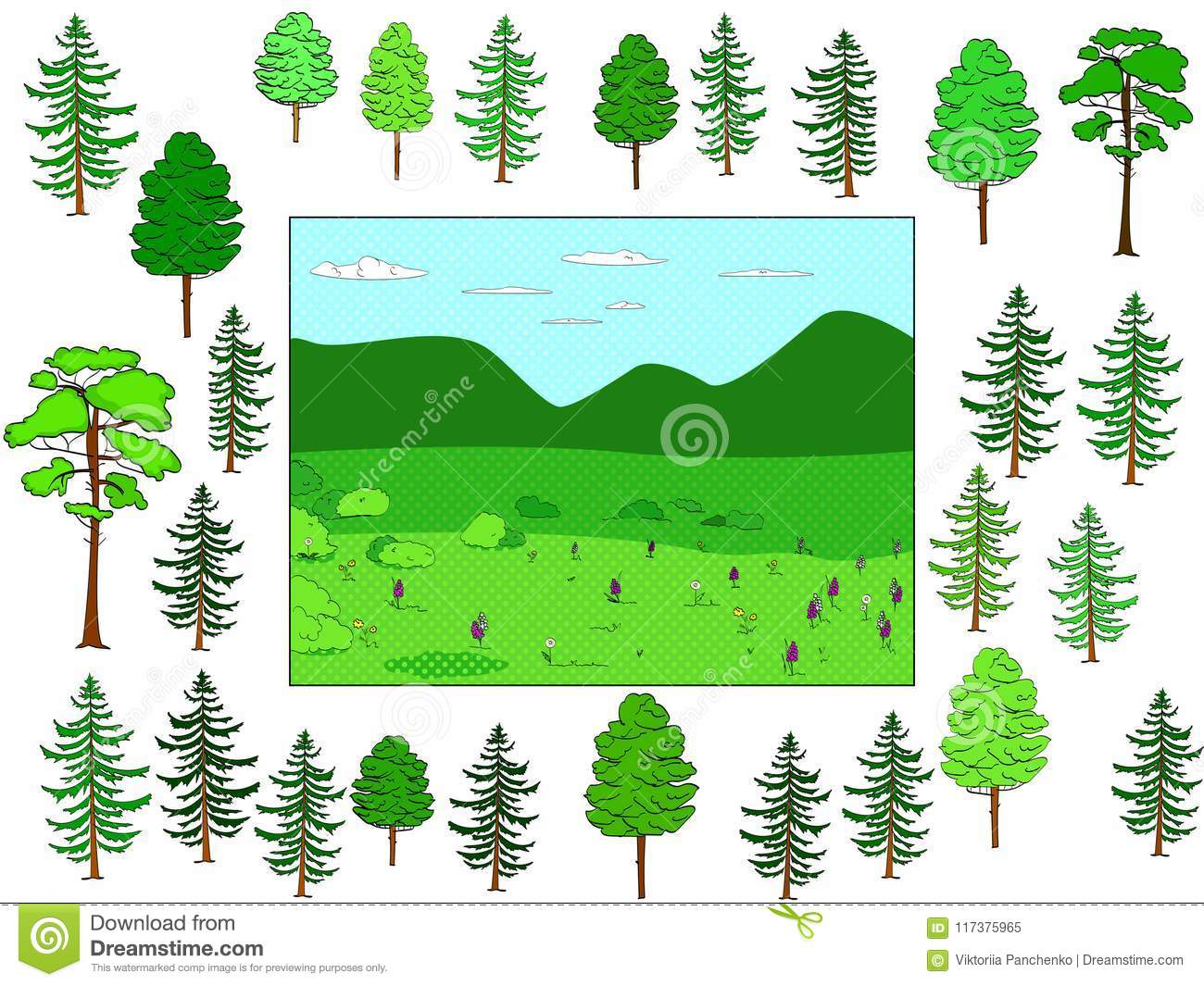 Developing children game, cut and put in place. Background of natural forest and glade, objects of trees. Vector
