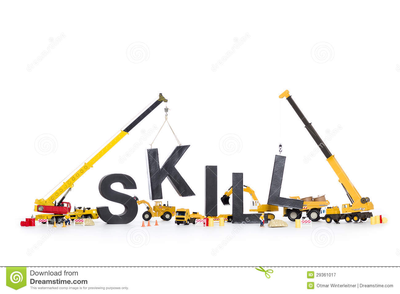 developing skills machines building skill word royalty free