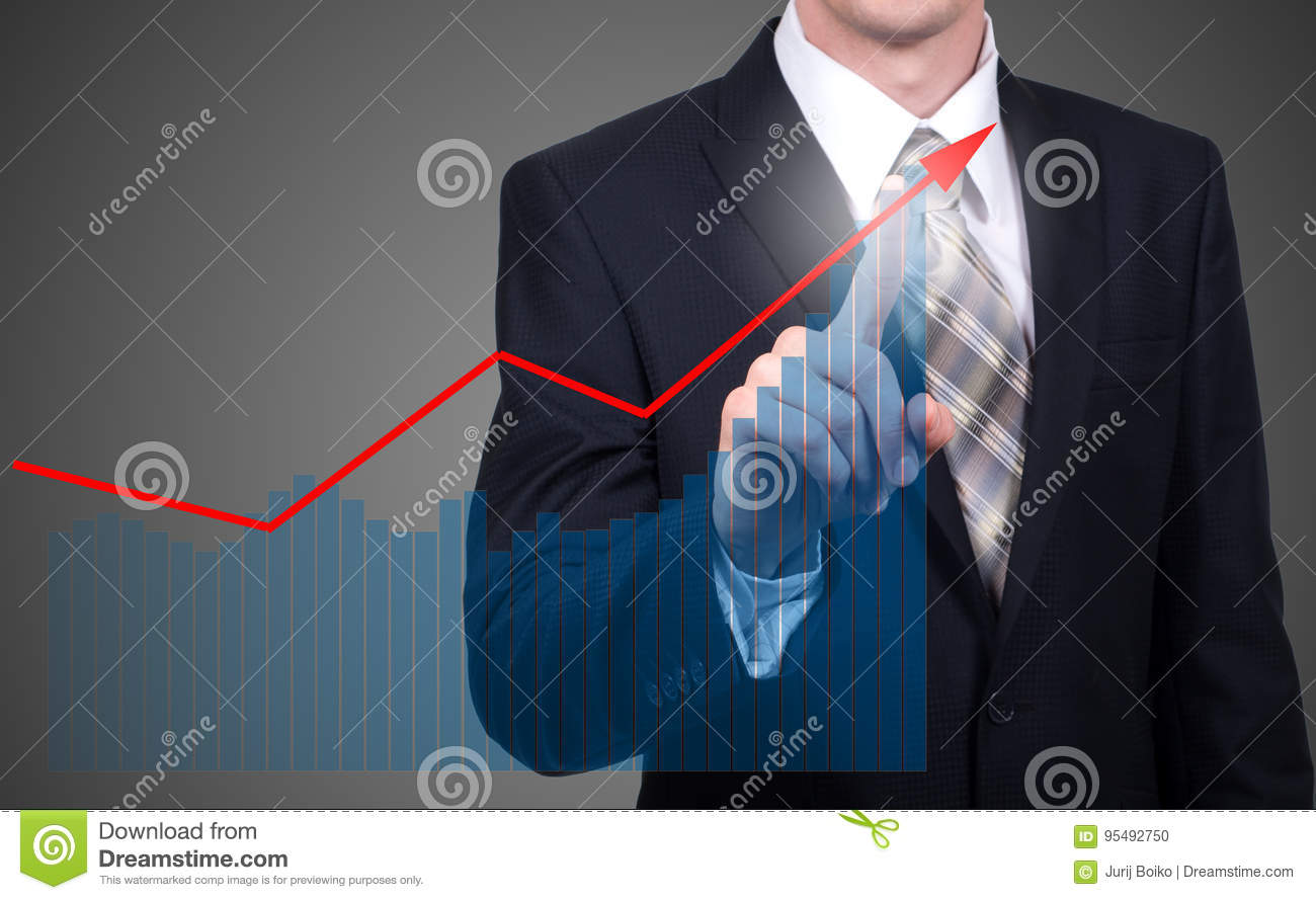 Development and growth concept. Businessman plan growth and increase of positive indicators in his business and finance