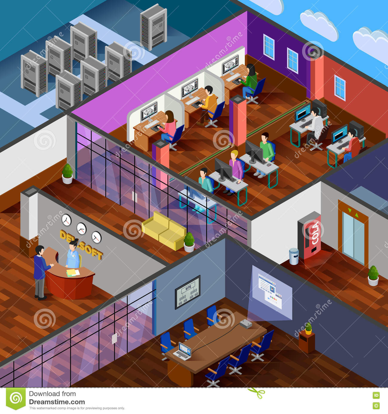 Developers cartoons illustrations vector stock images for Office room design software