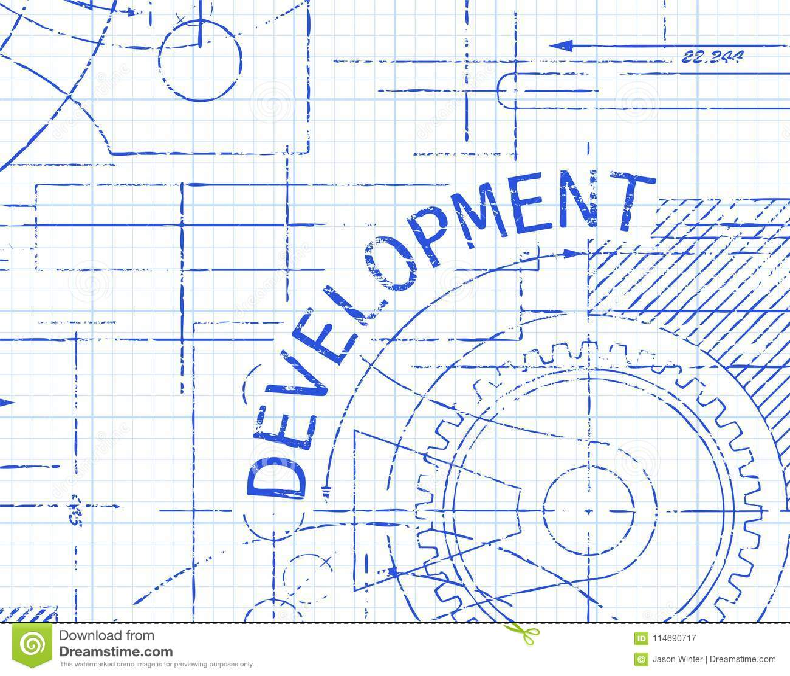 development graph paper machine stock vector illustration of