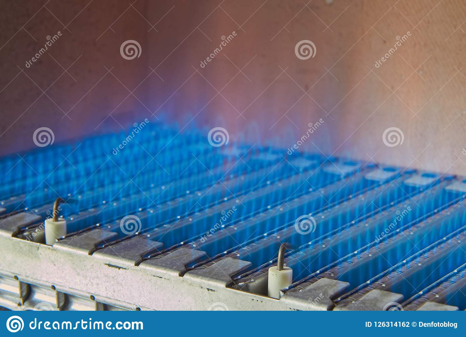 The Device Of A Gas Boiler, The Process Of Heating Water. Stock ...