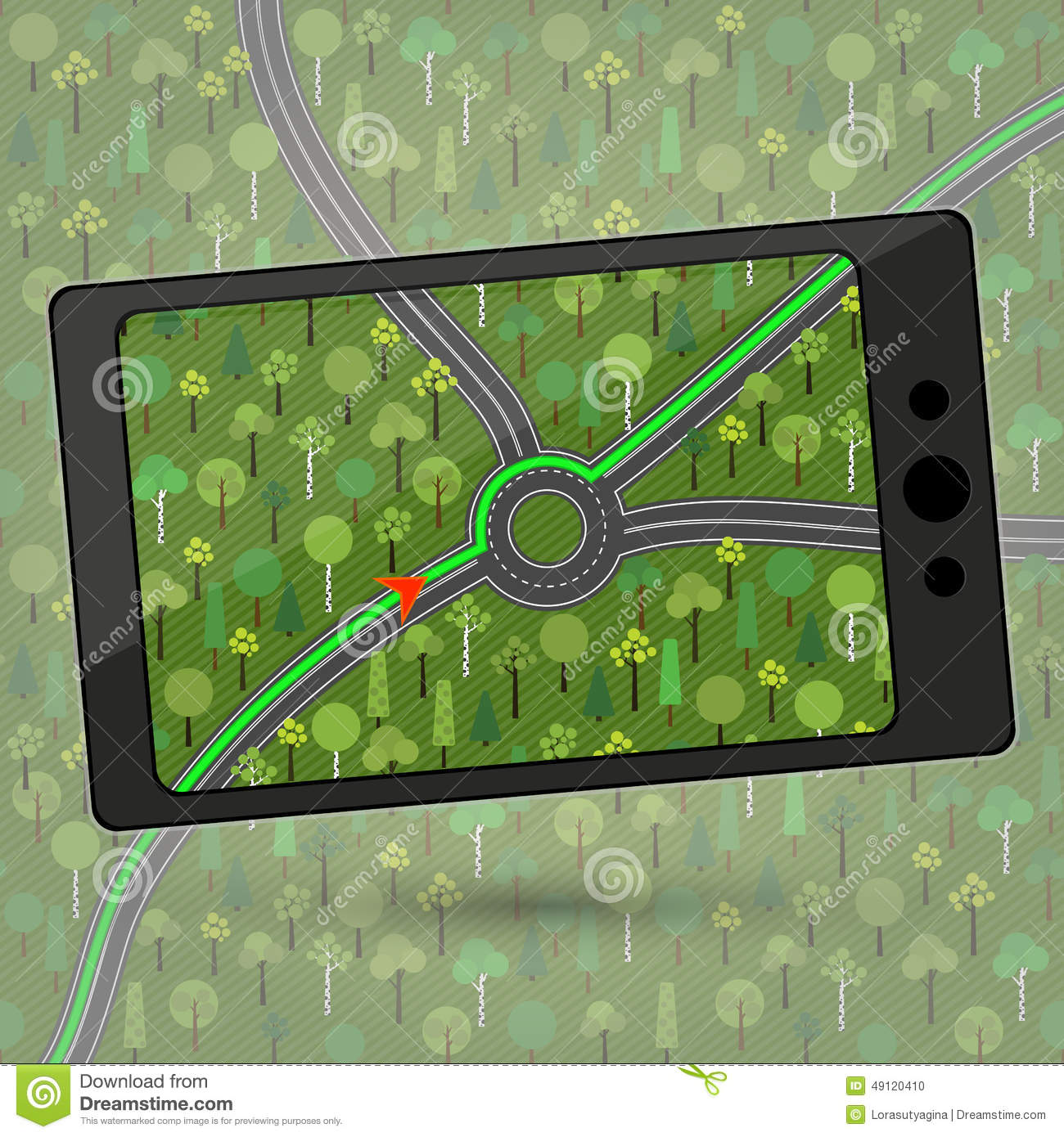 Device with GPS module. Smartphone with GPS navigation. Vector i
