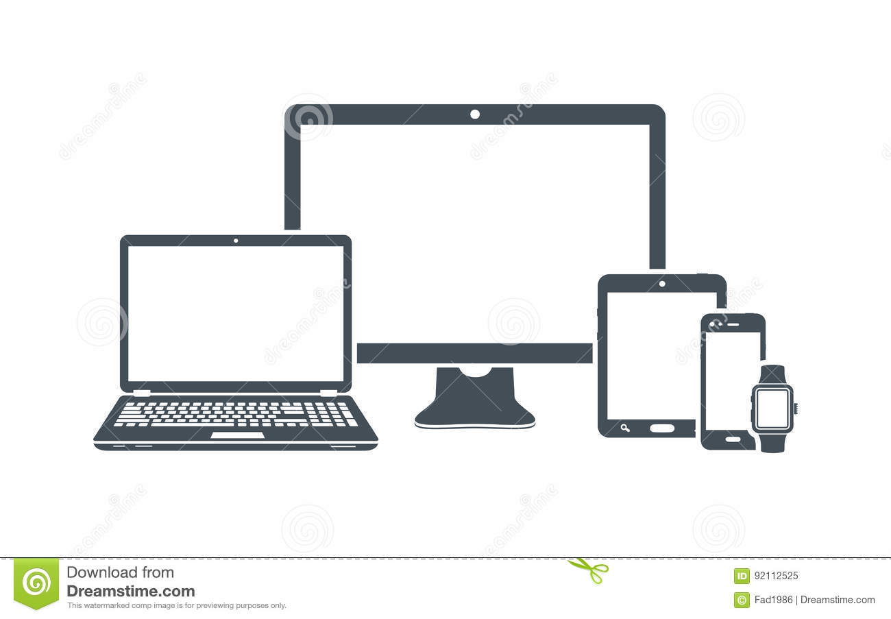 Device icons: desktop computer, laptop, smart phone, tablet and smart watch