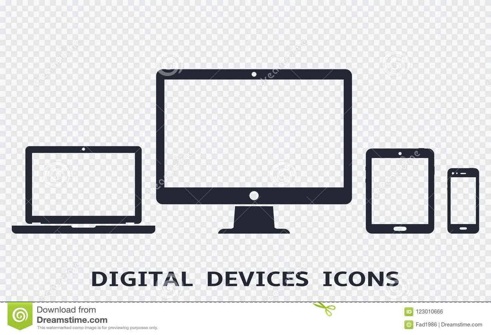 Device icons set: smartphone, tablet, laptop and desktop computer. Vector illustration of responsive web design.
