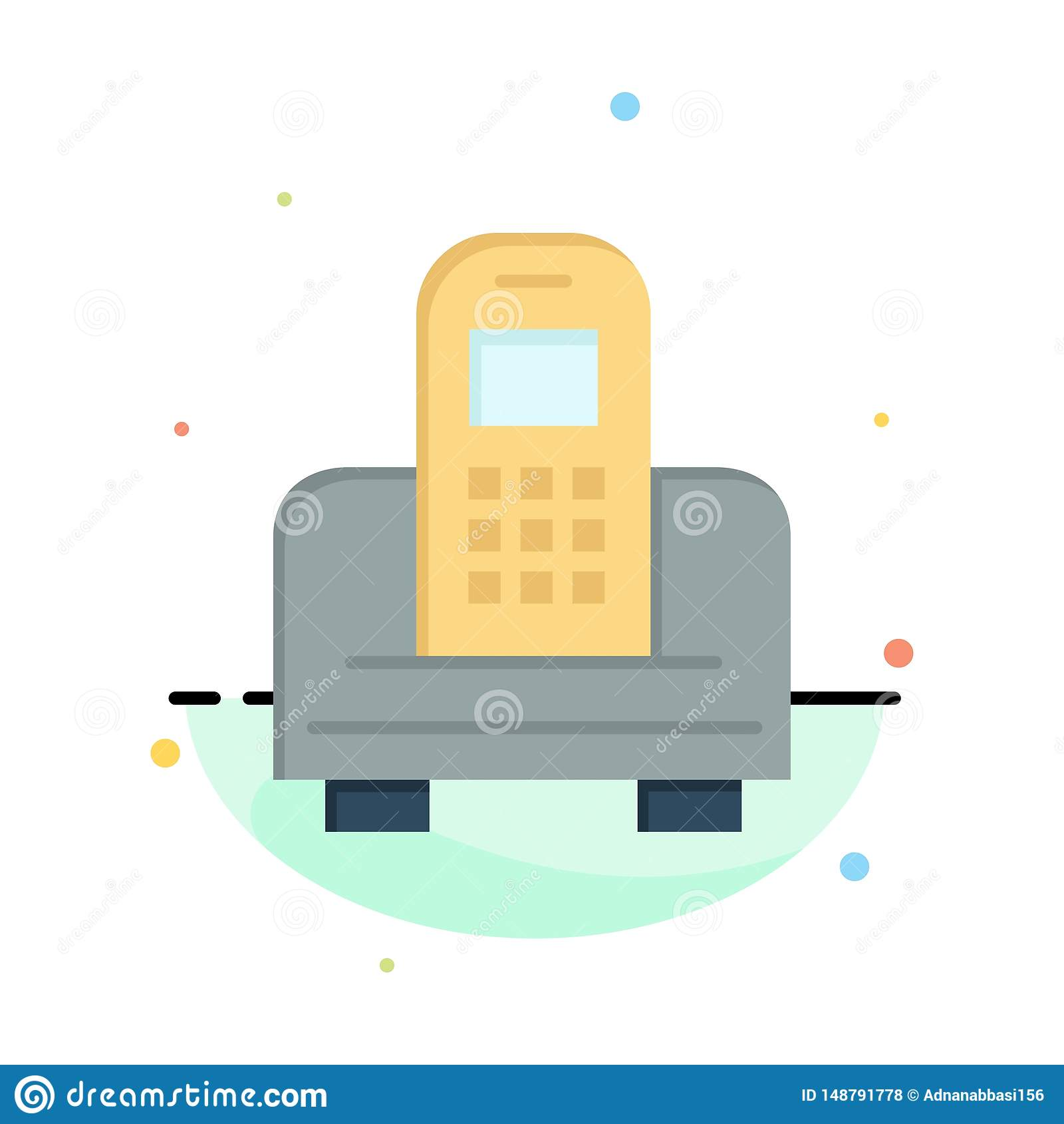 Device, Mobile, Cell, Hardware Abstract Flat Color Icon Template