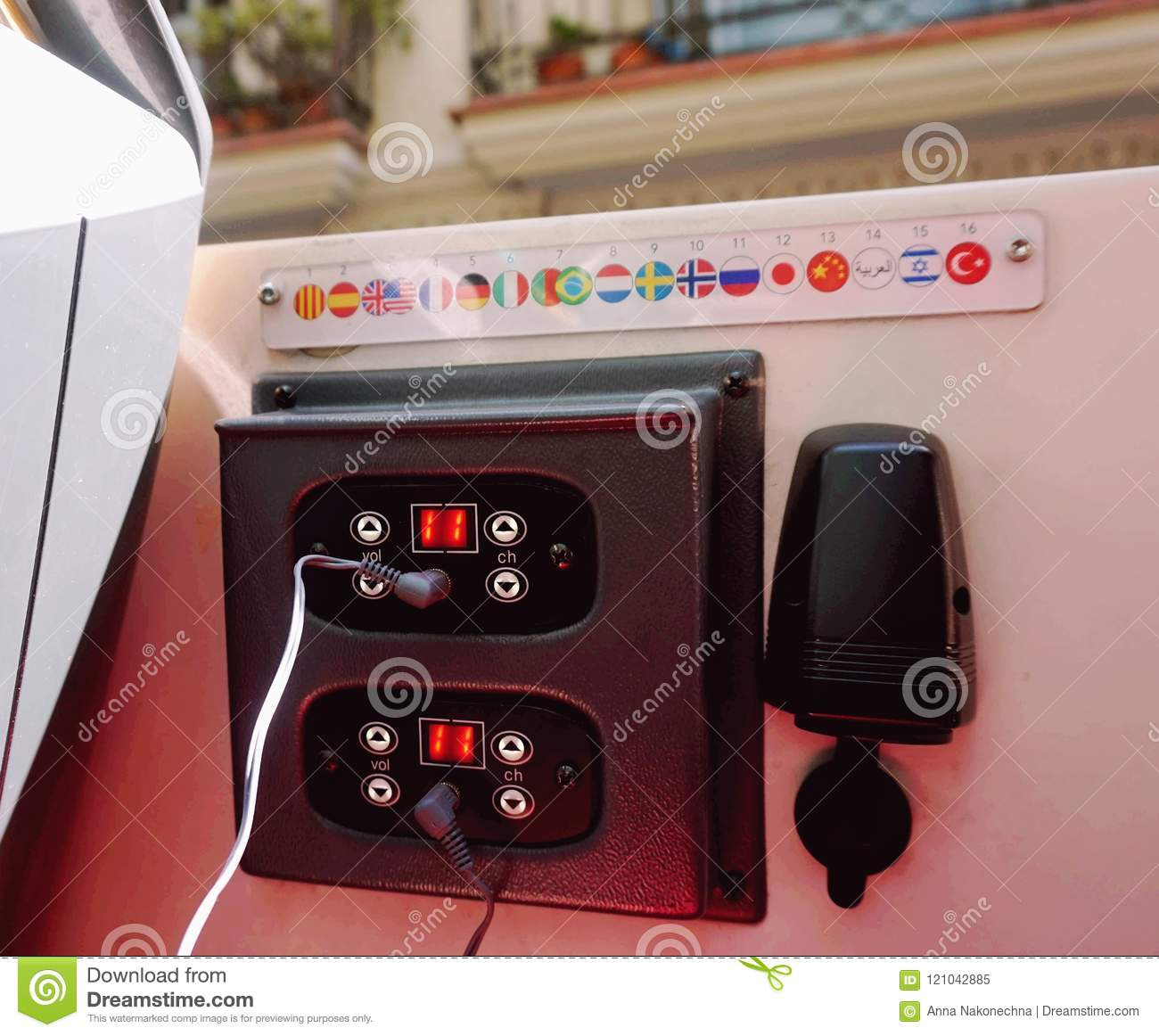 A device for operating an audio guide in a bus in different languages