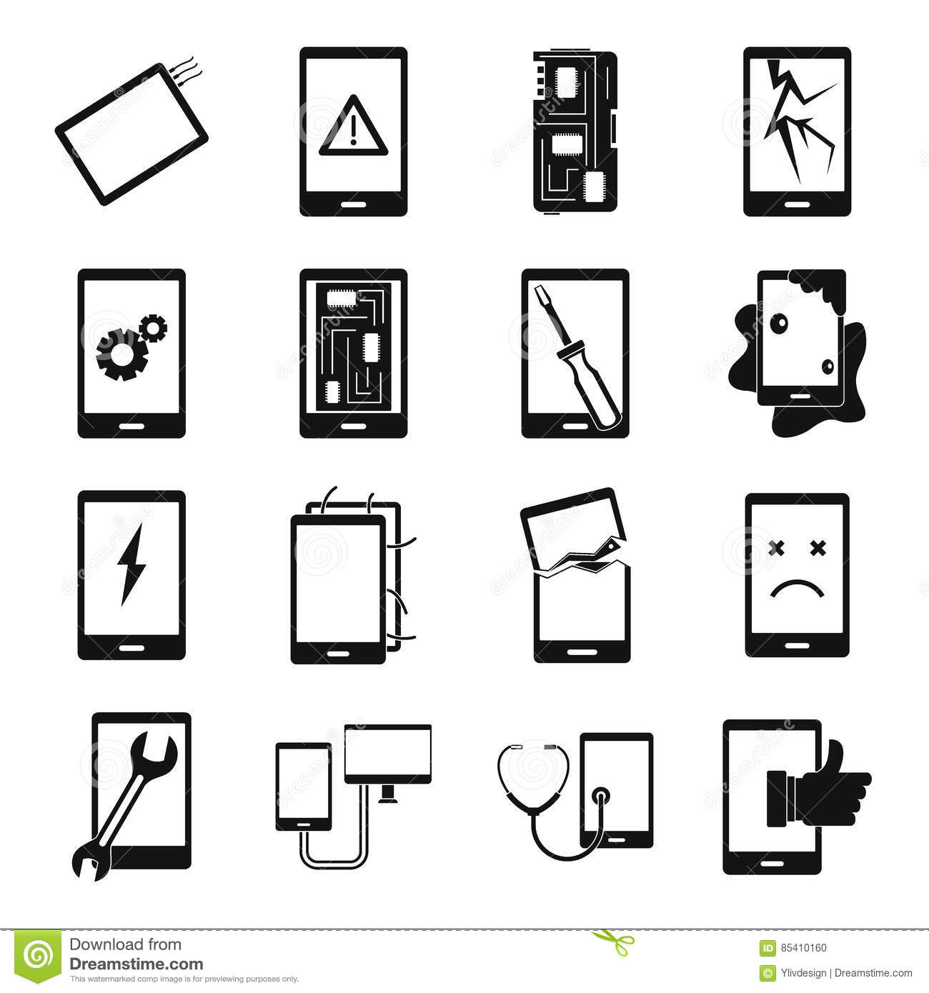device repair symbols icons set  simple style stock vector