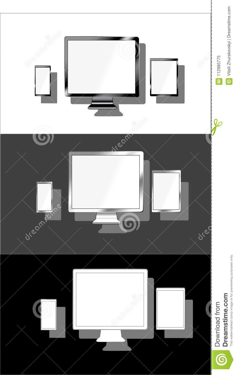 Devices lcd tft monitor phone tablet set variation flat material design landing sites graphic isolated vector objects.