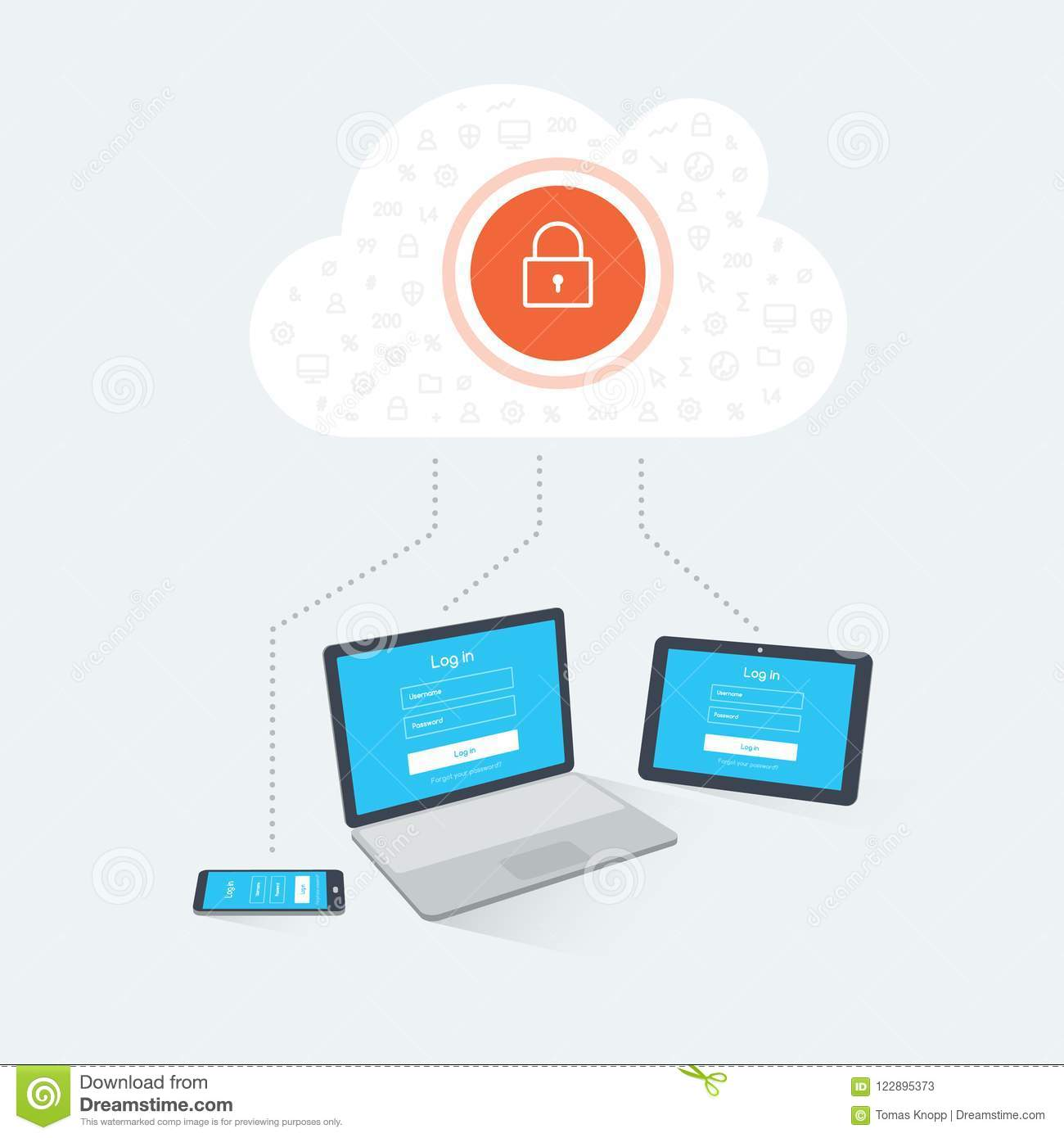 Devices Login To A Remote Secure Cloud Server Stock