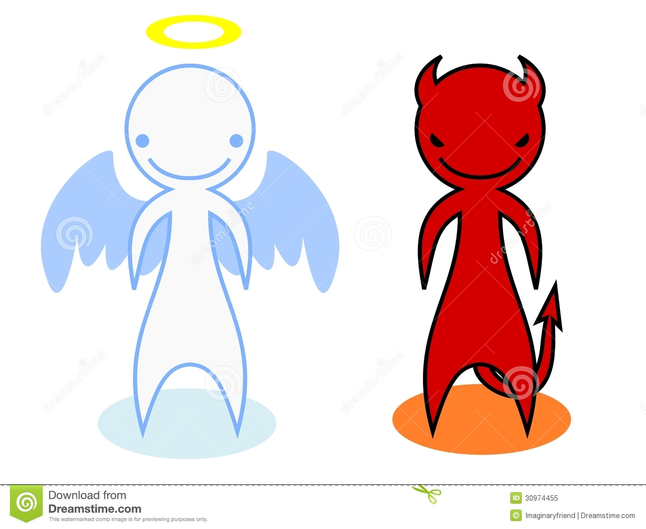 Angel And Devil Affecting A Thoughtful Cartoon Man Royalty Free ...