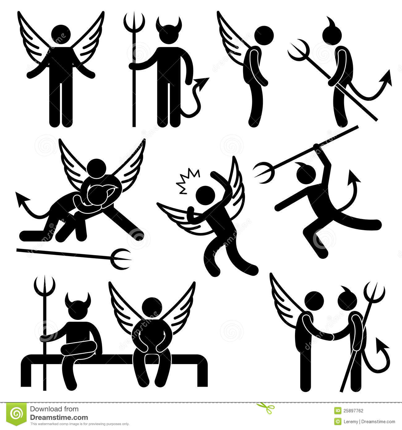set of pictogram representing devil and angel.