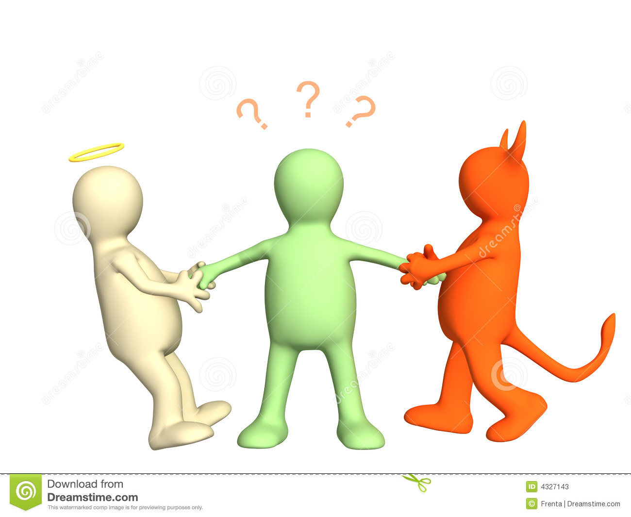 Devil And Angel Pulling 3d Person For Hands Stock Photos - Image ...