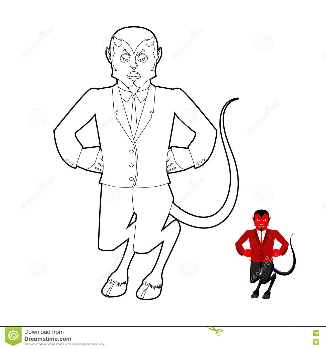 Devil Coloring Book Demon In Linear Style