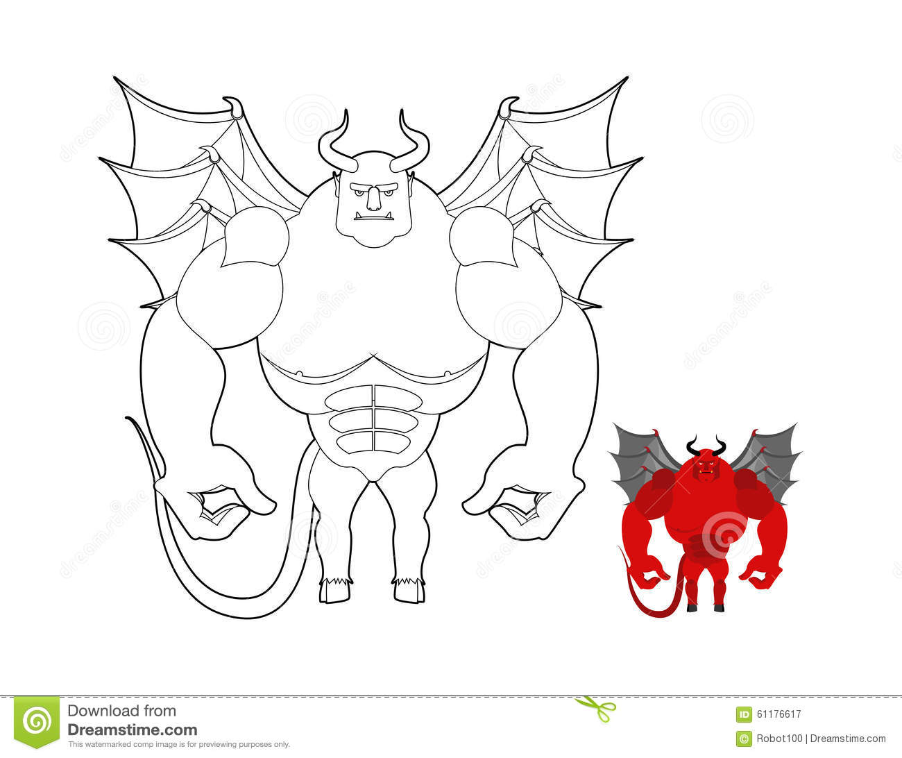 Devil Coloring Book Red Demon With Wings And Horns Helluva Ter