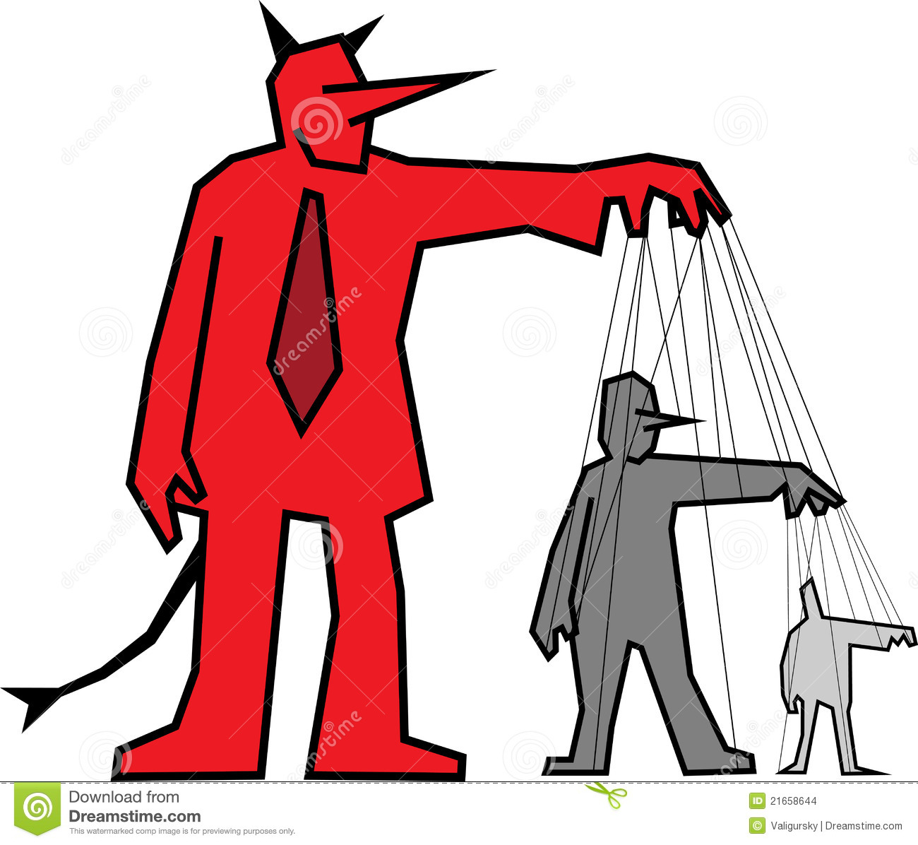 Devil Controlling Other People Stock Vector - Illustration of evil ...