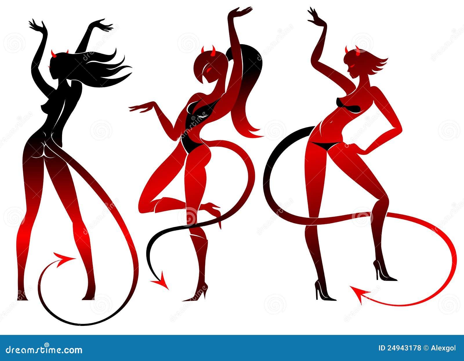 Devil Dancing Girls Silhouettes Set Royalty Free Stock Photos - Image ...