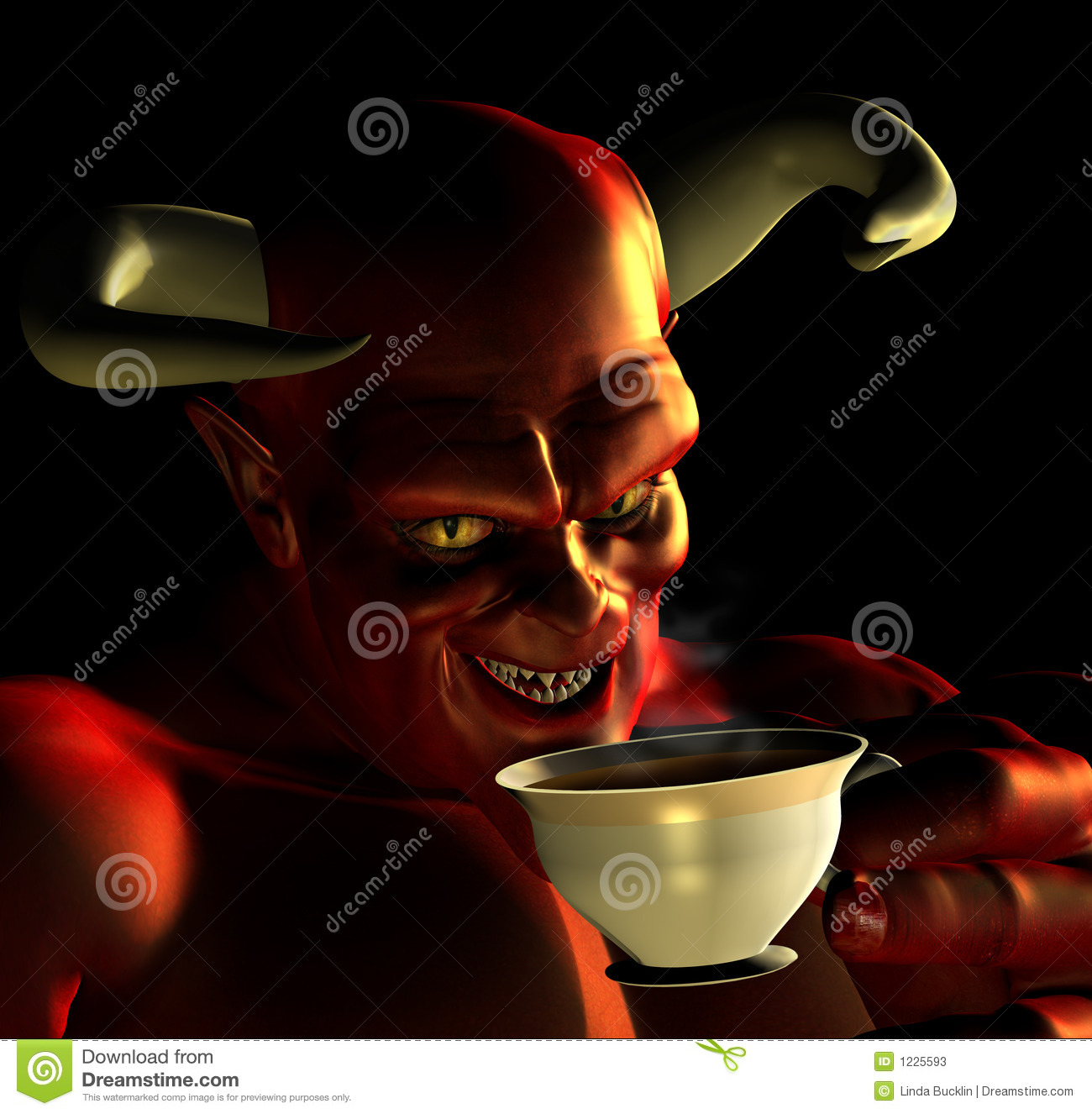 Devil Drinking Tea Stock Photos - Image: 1225593