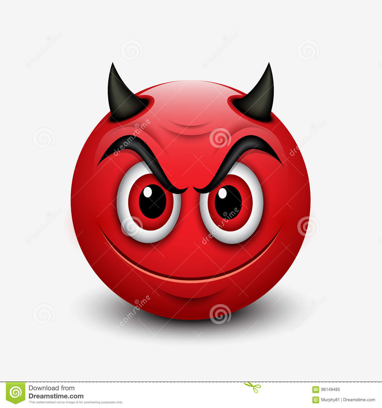 Devil emoticon isolated on white background emoji illustration stock vector illustration - Emoticon diable ...