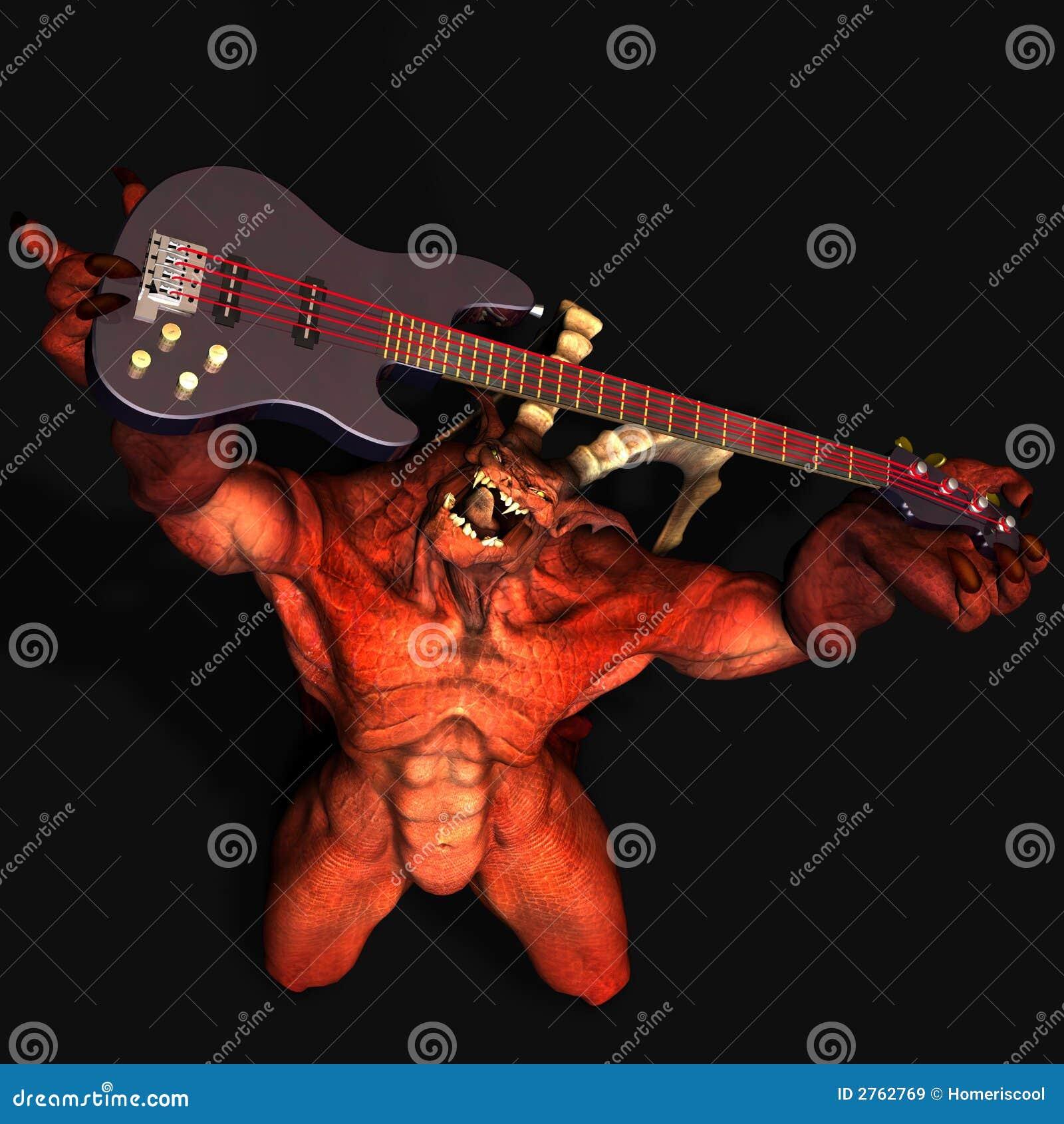 Devil Playing Guitar.satanic Stock Illustration