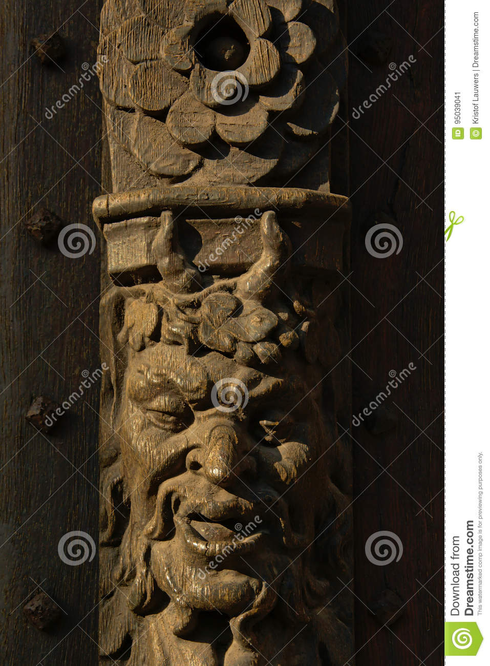 Devil`s face wood sculpture stock image image of face grin