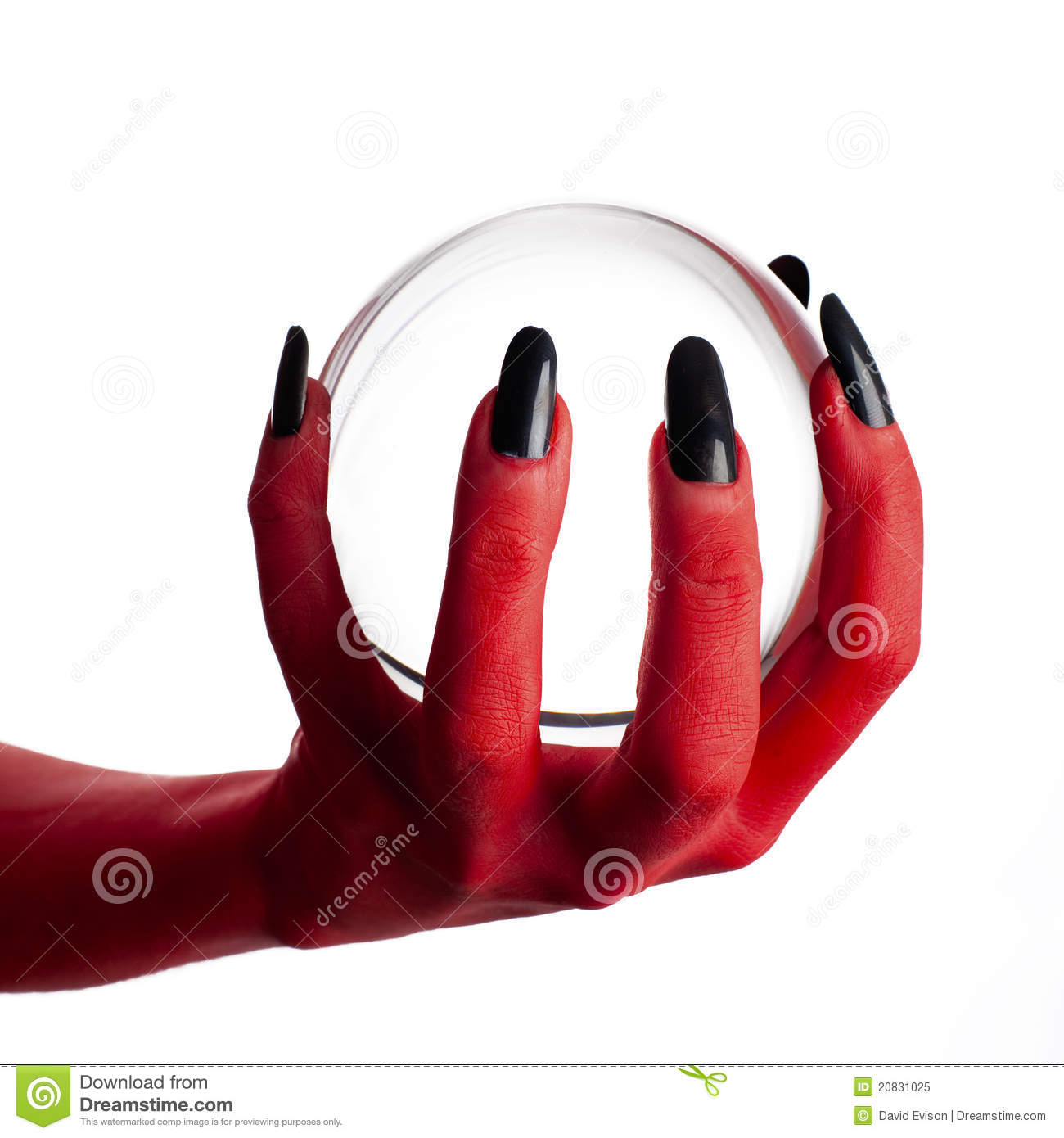 devil s hand holding crystal ball stock image image of light