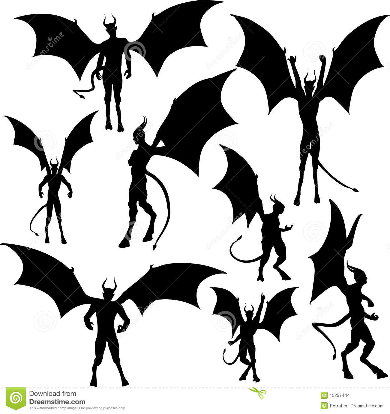 Set Of Devil Silhouette Illustrations For Halloween