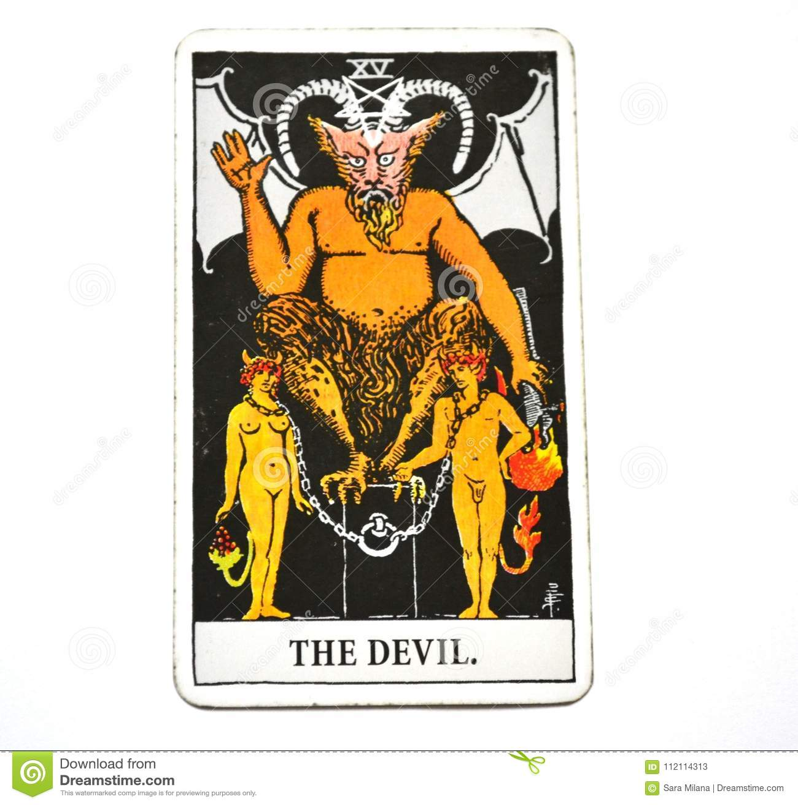 The Devil Tarot Card Bondage, temptation, enslavement, materialism, addictions White Bachground
