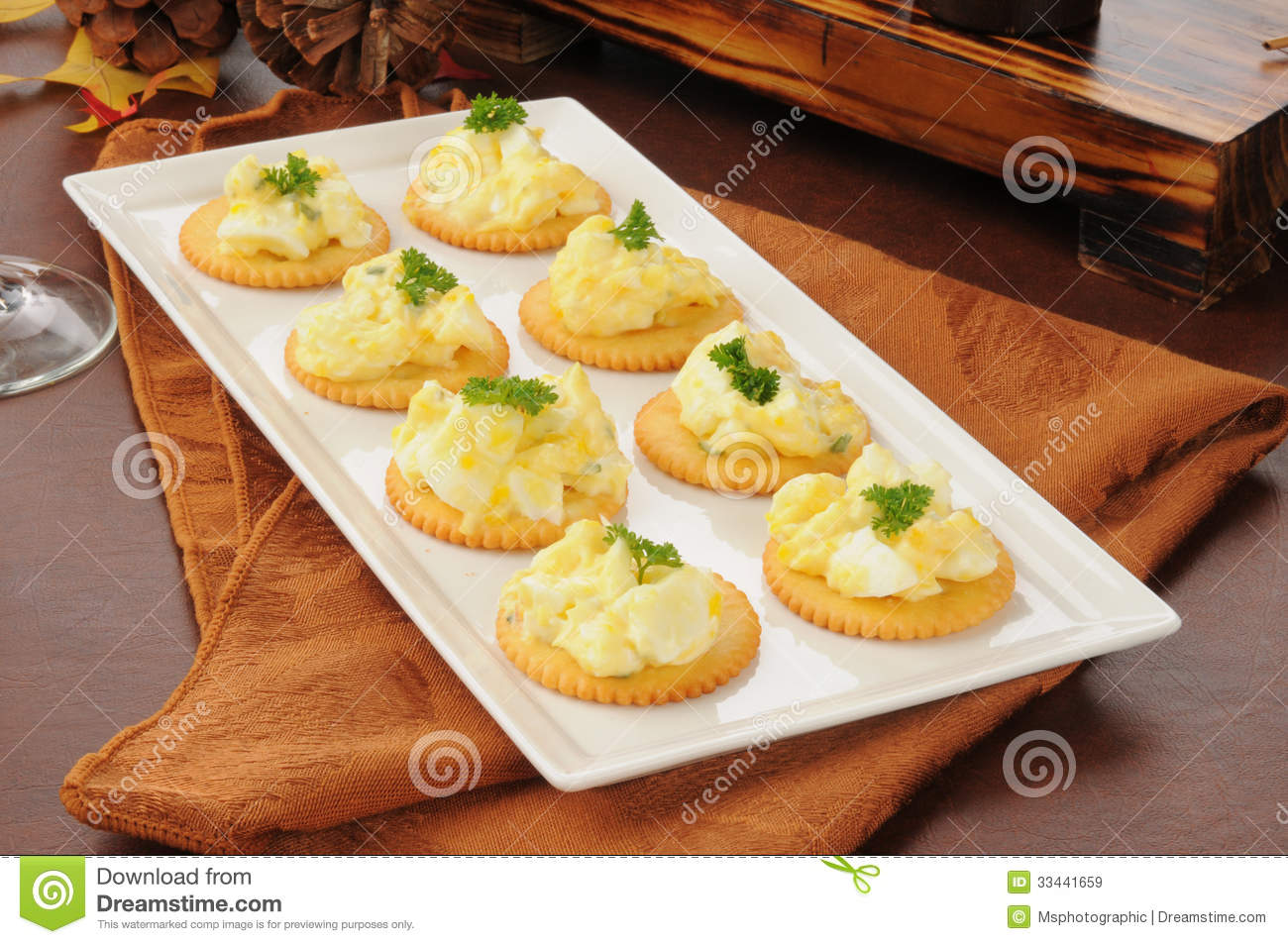 Deviled egg appetizers stock image image of wheat for Appetizer canape