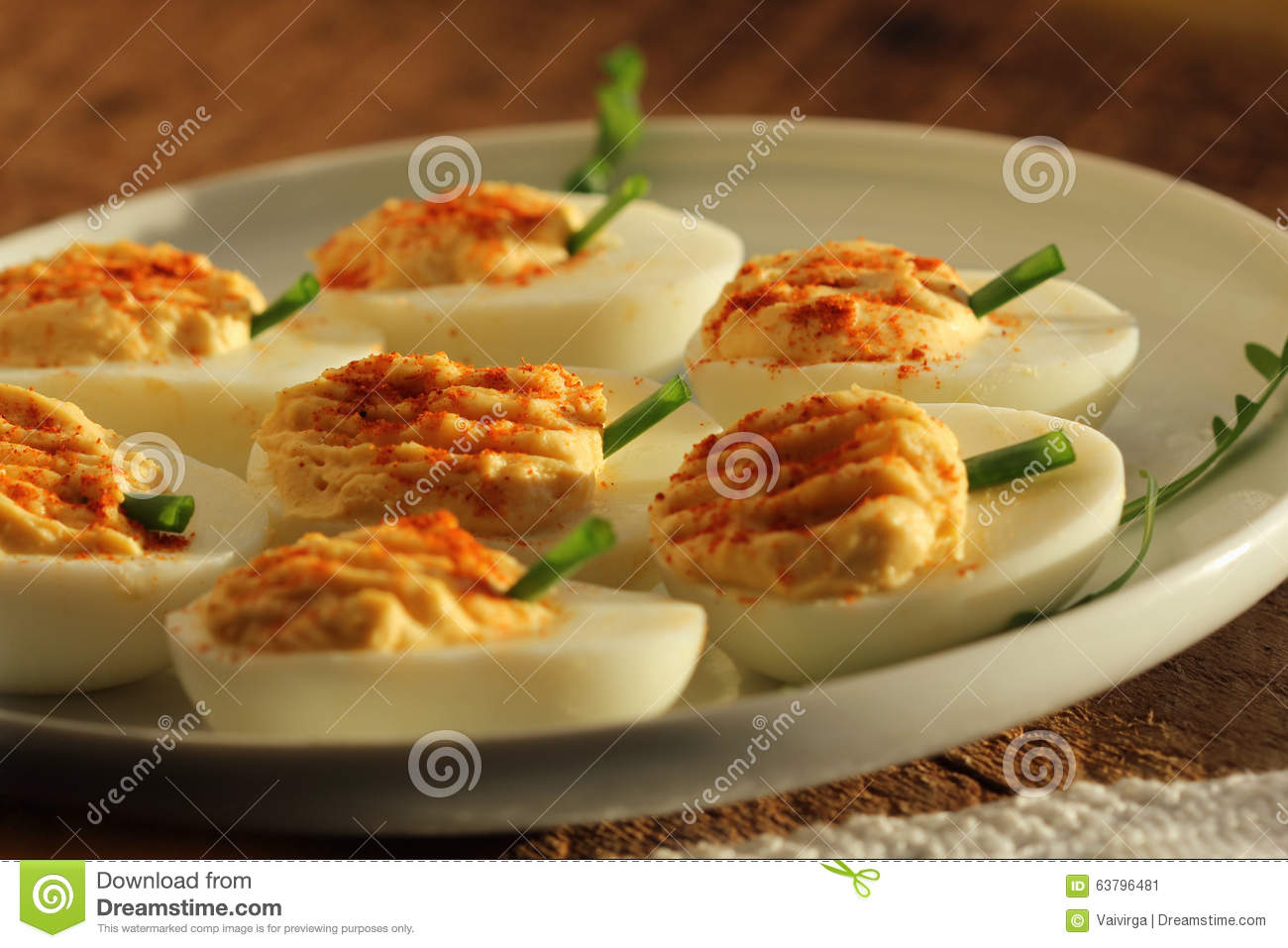 Deviled Eggs With Red Pepper Stock Photo - Image: 63796481
