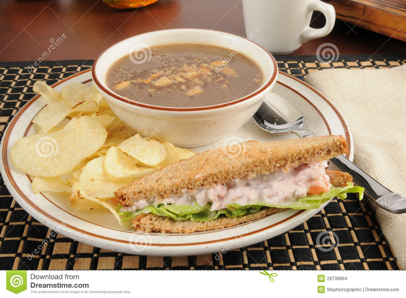 Ham Salad Sandwich With Onion Soup Stock Images - Image: 29739894
