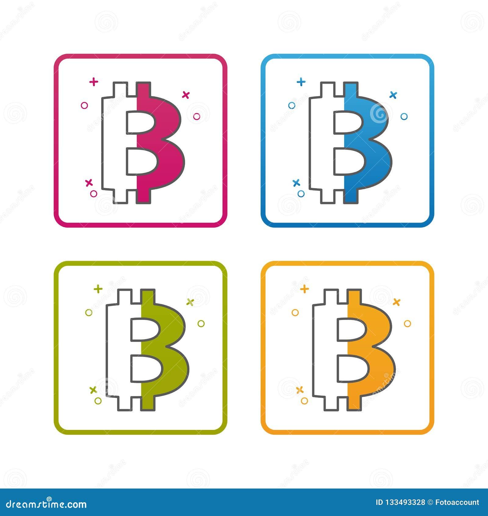 Devise de Bitcoin - contour a dénommé l icône - course Editable - illustration colorée de vecteur - d isolement sur le fond blanc