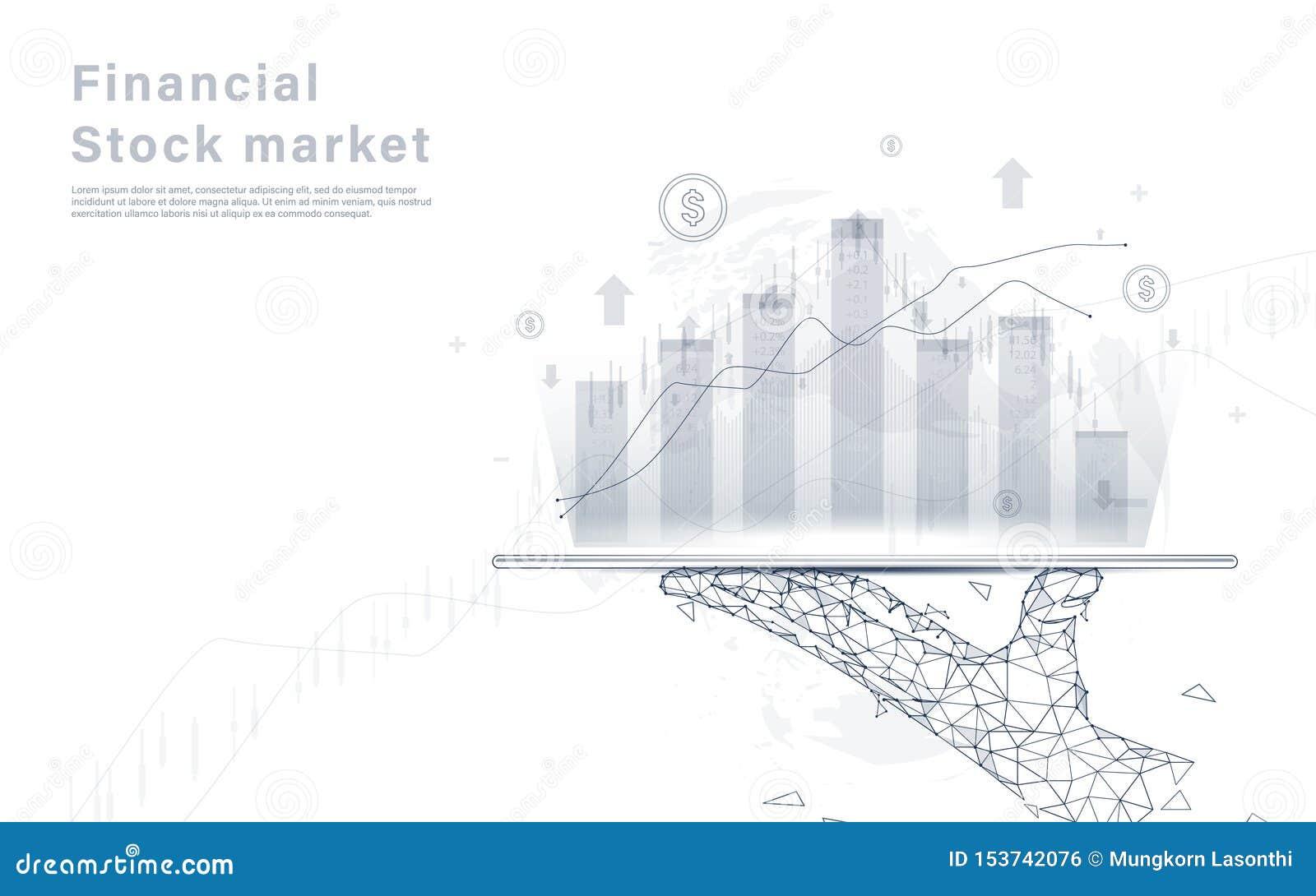 Devisenmarktdiagramm-Analysehintergrund auf Lager Handholdingtablette auf Weltkarte