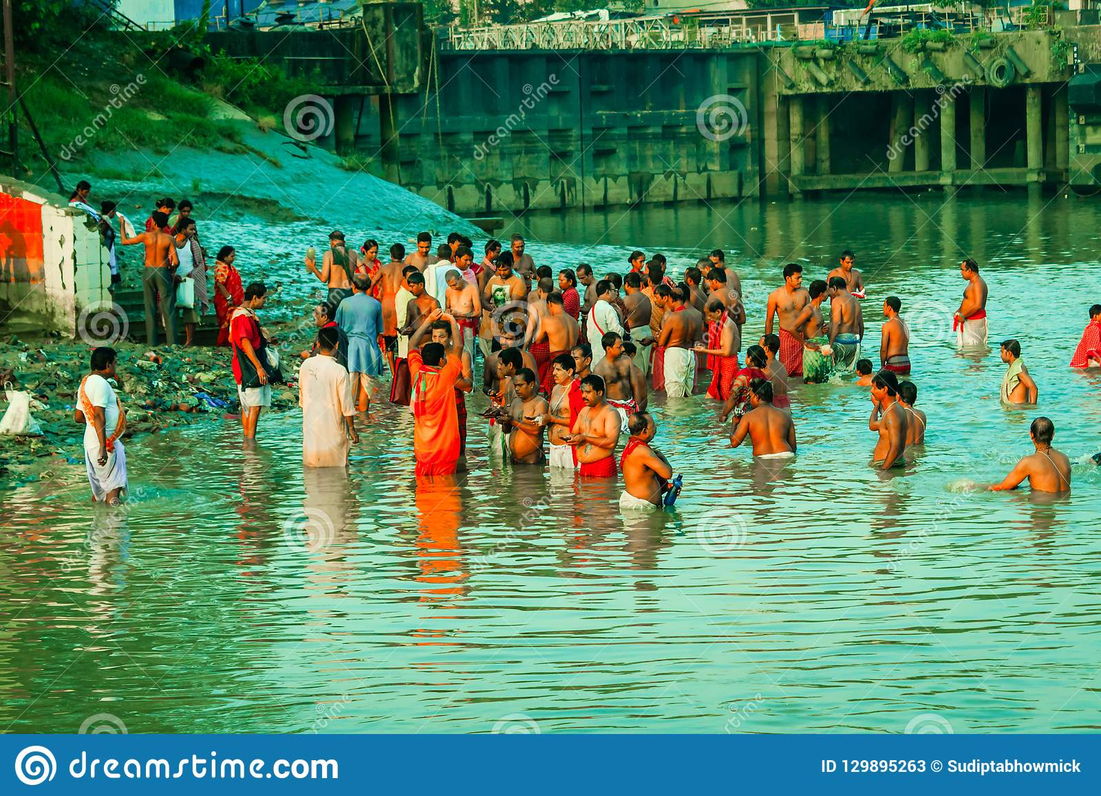 Devotees Taking Holy Bath On River Ganges Editorial Stock Photo