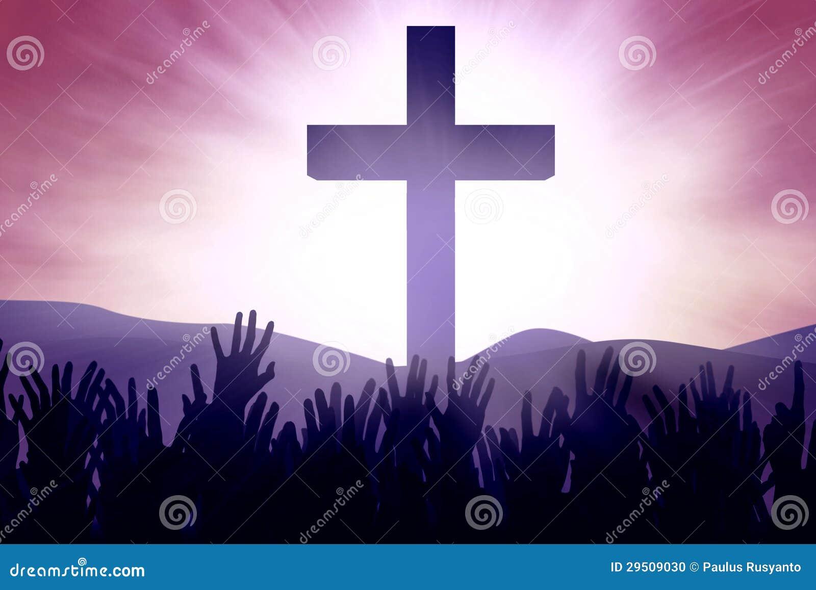 Devotos cristianos en la cruz