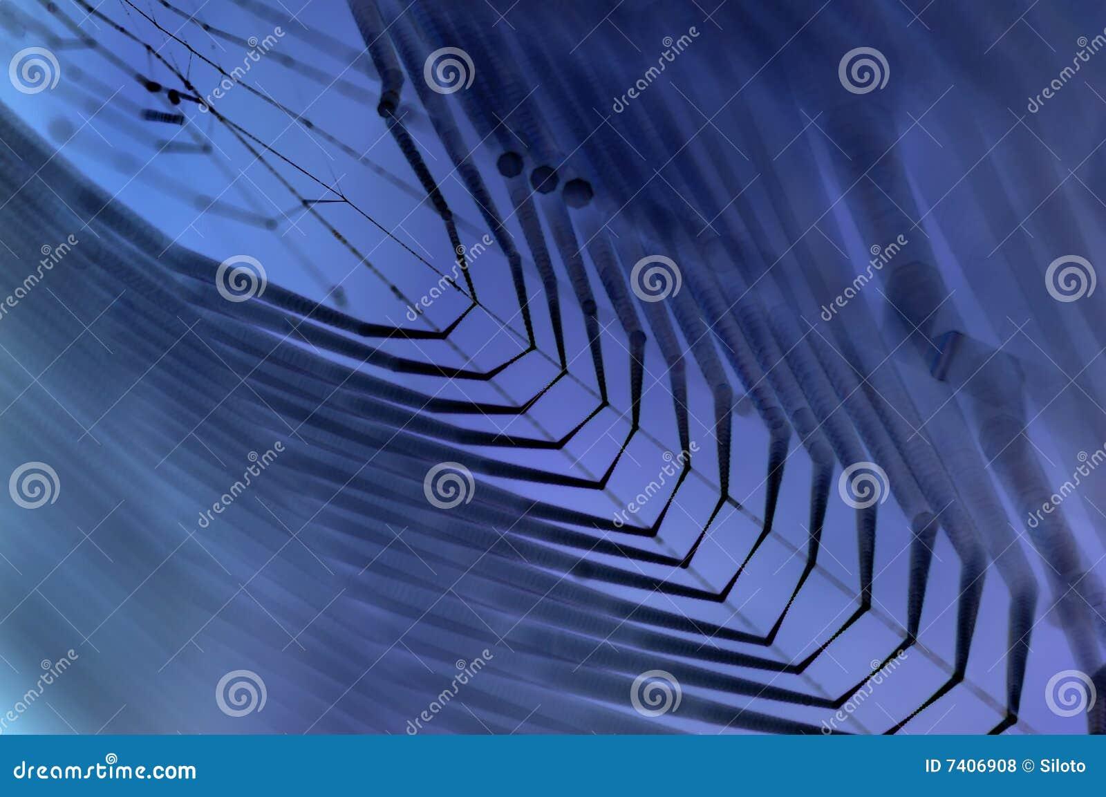 Dewy Spinnennetz im Blau